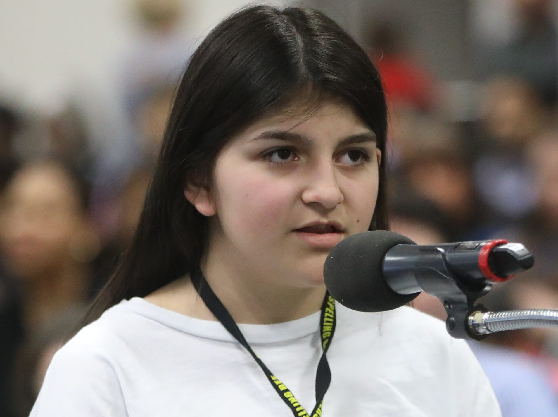 Riley Osmanoglu, of Wanaque, competes in the first round of the 2019 North Jersey Spelling Bee, in Paramus. Thursday, March 14, 2019