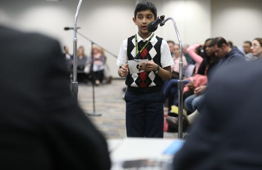 Jeremiah Markose, of New Milford, competes in the first round of the 2019 North Jersey Spelling Bee, in Paramus. Thursday, March 14, 2019
