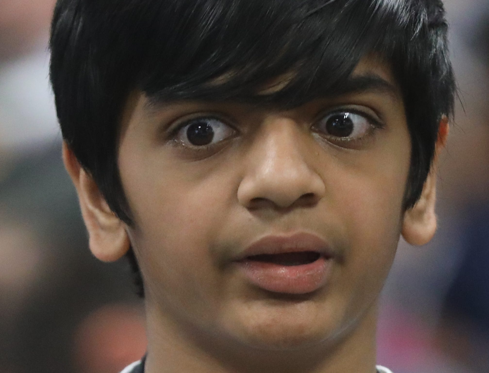 Krishan Patel, of Oakland, competes in the first round of the 2019 North Jersey Spelling Bee, in Paramus. Thursday, March 14, 2019