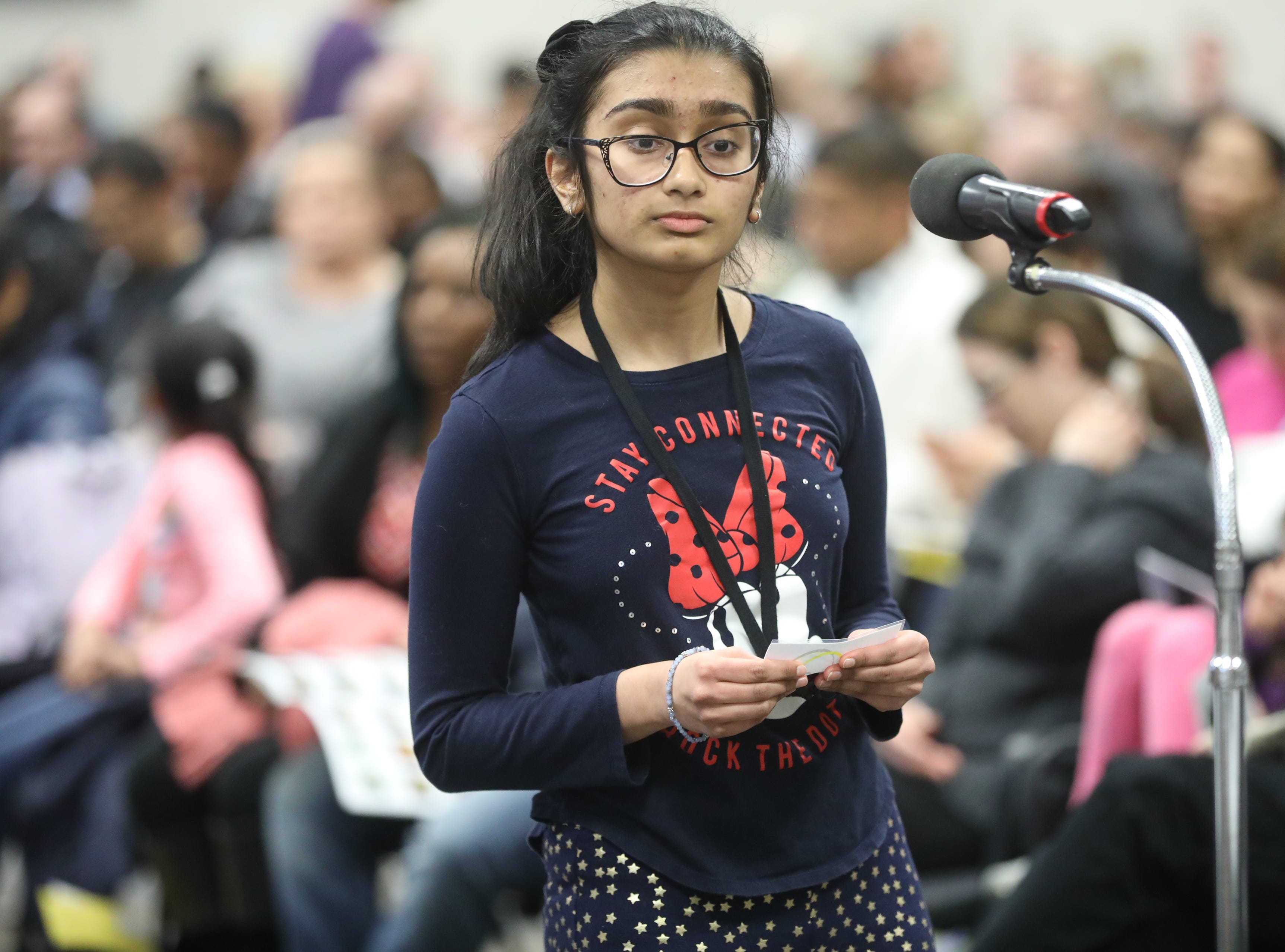 Enya Goonetilleke, of Leonia, competes in the first round of the 2019 North Jersey Spelling Bee, in Paramus. Thursday, March 14, 2019