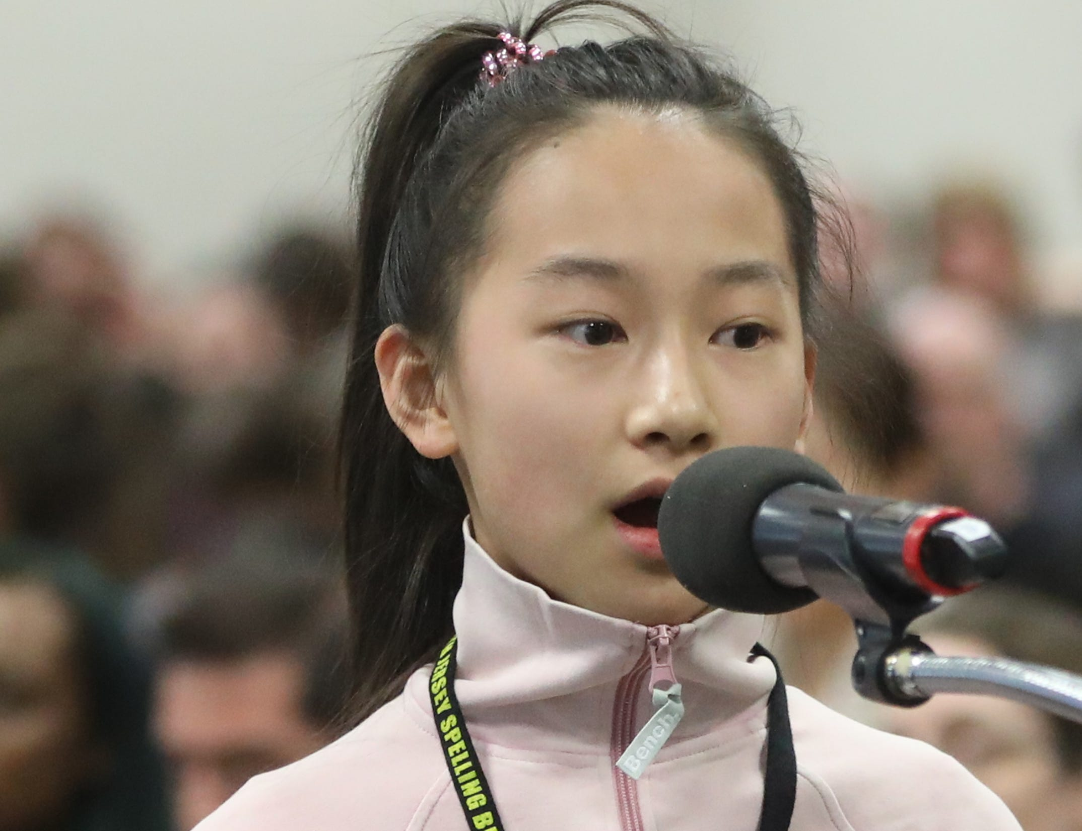 Harmony Zhu, of Englewood, competes in the first round of the 2019 North Jersey Spelling Bee, in Paramus. Thursday, March 14, 2019