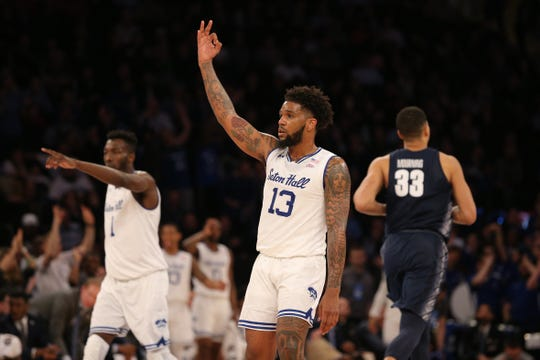 Mar 14, 2019; New York, NY, USA; Seton Hall Pirates guard Myles Powell (13) reacts after a three point shot against the Georgetown Hoyas during the first half of a quarterfinal game of the Big East conference tournament at Madison Square Garden.