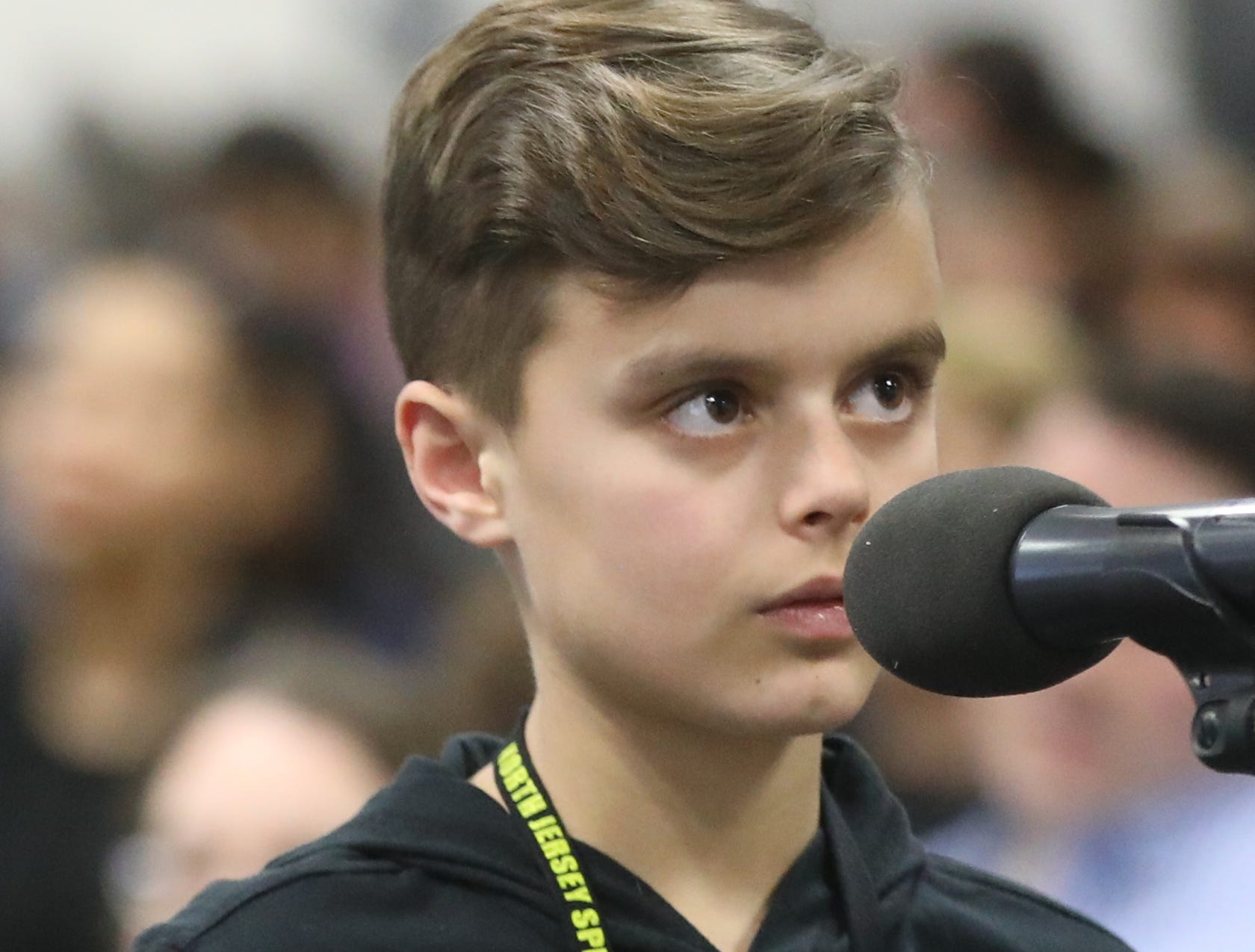 Quinn Juhlin, of Bloomingdale, competes in the first round of the 2019 North Jersey Spelling Bee, in Paramus. Thursday, March 14, 2019