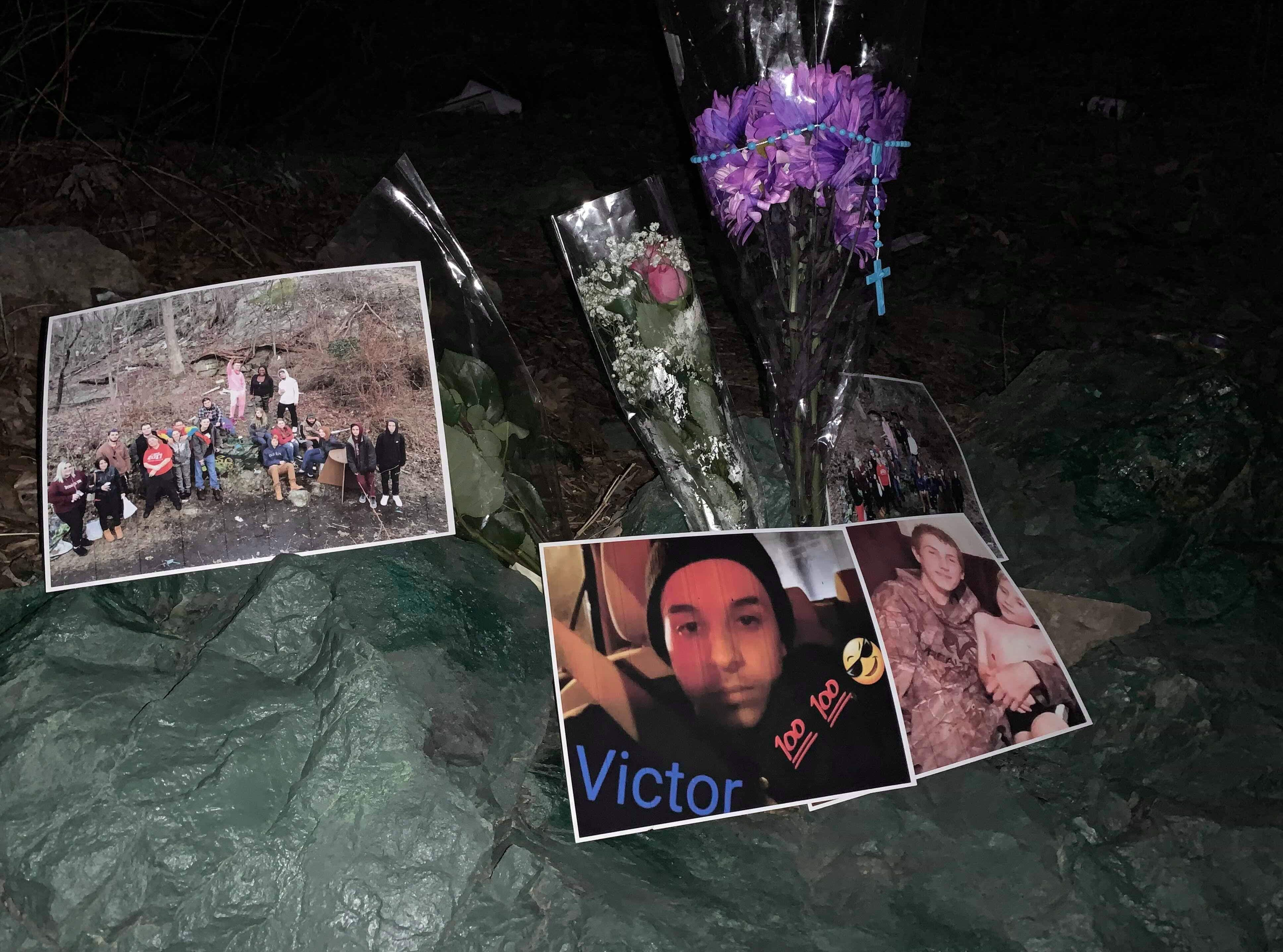 A memorial created in the woods off Ringwood Avenue in Wanaque on March 14 is dedicated to Victor Weinpel (photo bottom middle) and Jonathan Carlson (bottom right photo), who died March 13 in a car accident in neighboring Ringwood.