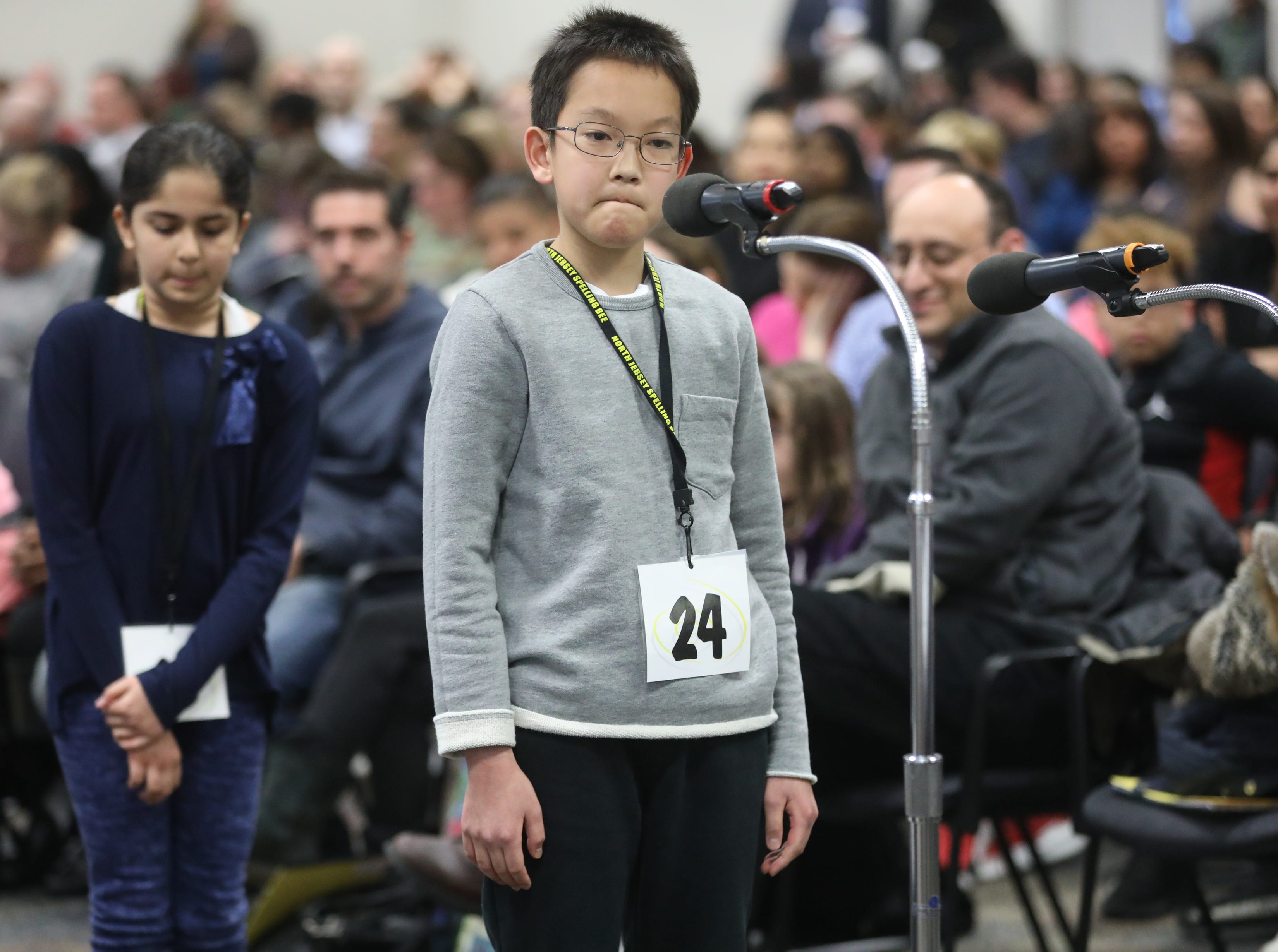 Tai Nakamura, of Emerson, competes in the first round of the 2019 North Jersey Spelling Bee, in Paramus. Thursday, March 14, 2019