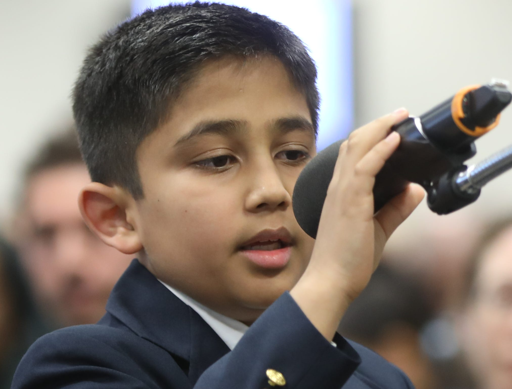 Shlok Jhaveri, of Tenafly, competes in the first round of the 2019 North Jersey Spelling Bee, in Paramus. Thursday, March 14, 2019