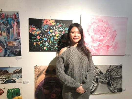 Palisades Park high school senior Yeleen Lee  had her artwork featured at the Riverside Gallery at the Riverside mall in Hackensack on March 14.