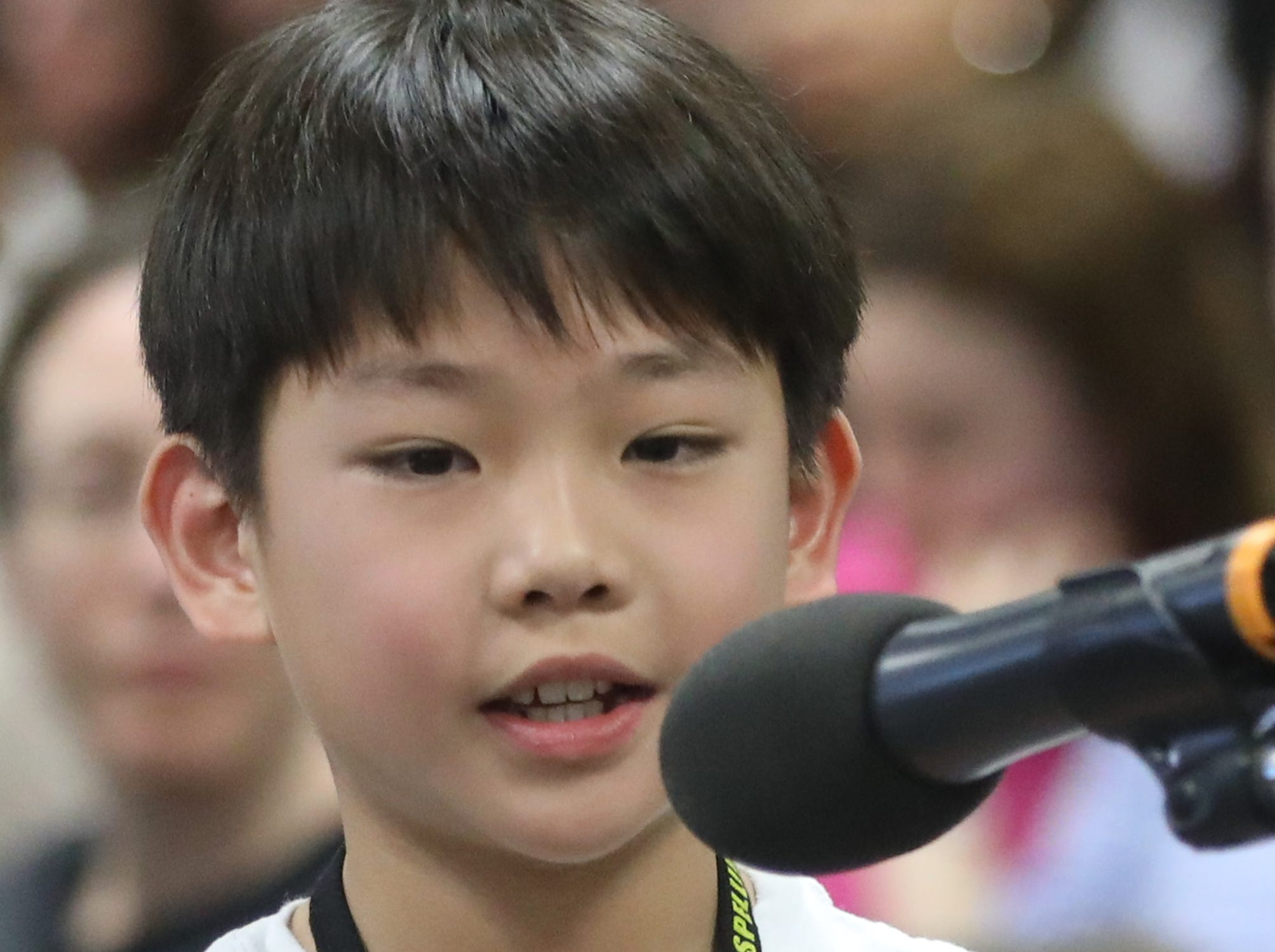 Andrew Hong, of Paramus, competes in the first round of the 2019 North Jersey Spelling Bee, in Paramus. Thursday, March 14, 2019