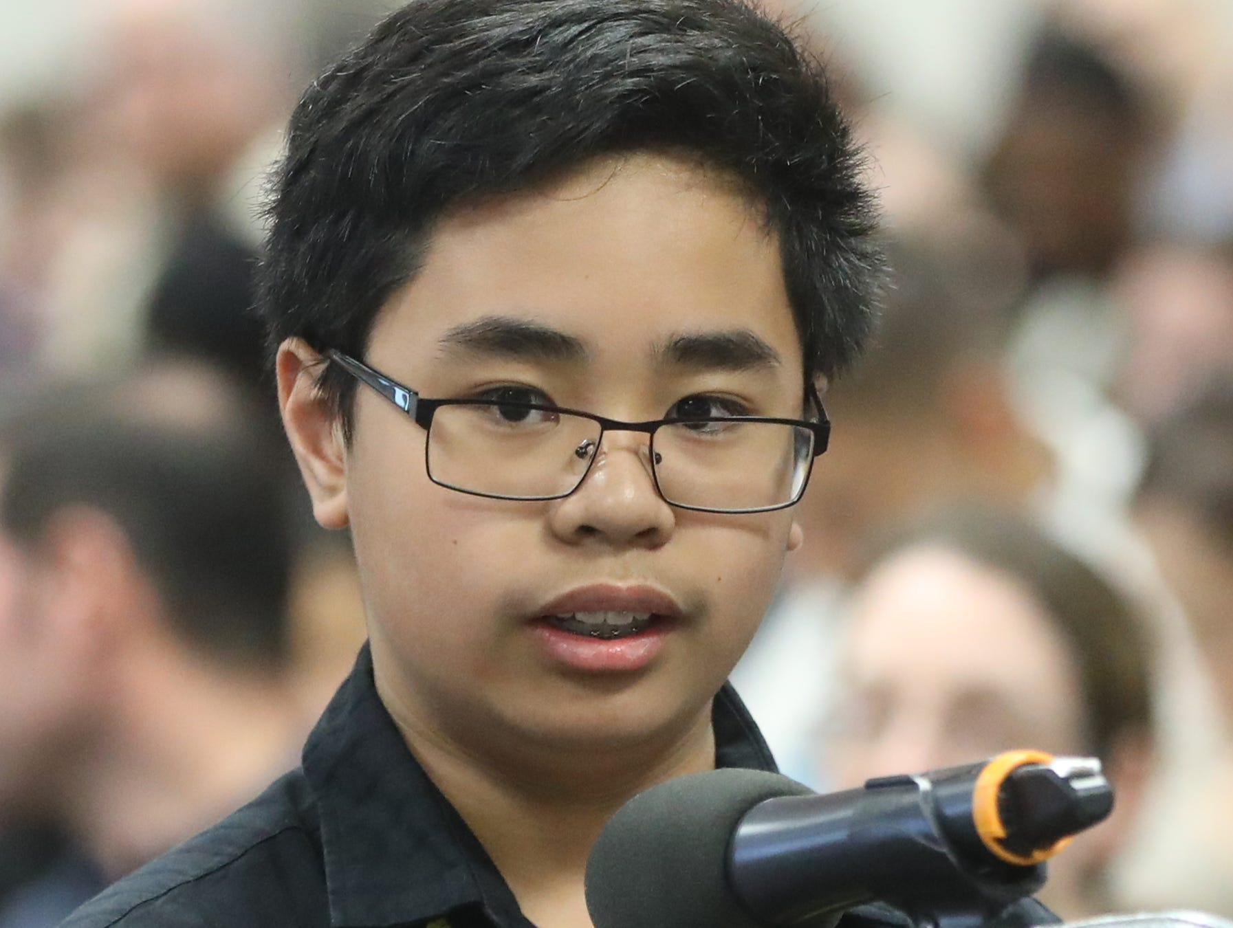 Matthew Cancio, of Norwood, competes in the first round of the 2019 North Jersey Spelling Bee, in Paramus. Thursday, March 14, 2019