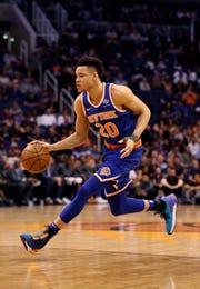 Mar 6, 2019; Phoenix, AZ, USA; New York Knicks forward Kevin Knox (20) against the Phoenix Suns at Talking Stick Resort Arena.