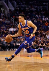 Mar 6, 2019; Phoenix, AZ, USA; New York Knicks forward Kevin Knox (20) against the Phoenix Suns at Talking Stick Resort Arena.