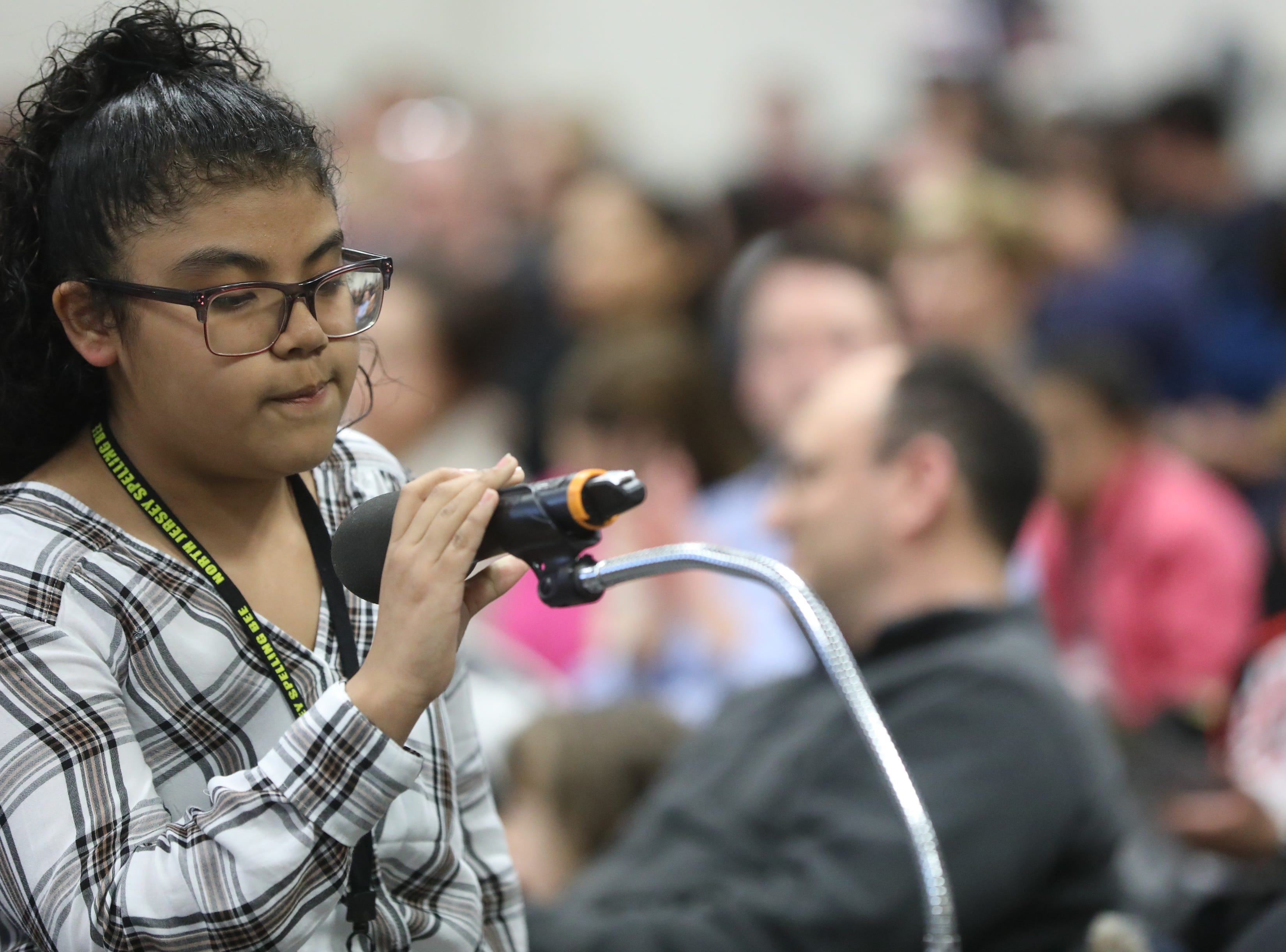 Natalia Delgado, of Paterson, competes in the first round of the 2019 North Jersey Spelling Bee, in Paramus. Thursday, March 14, 2019