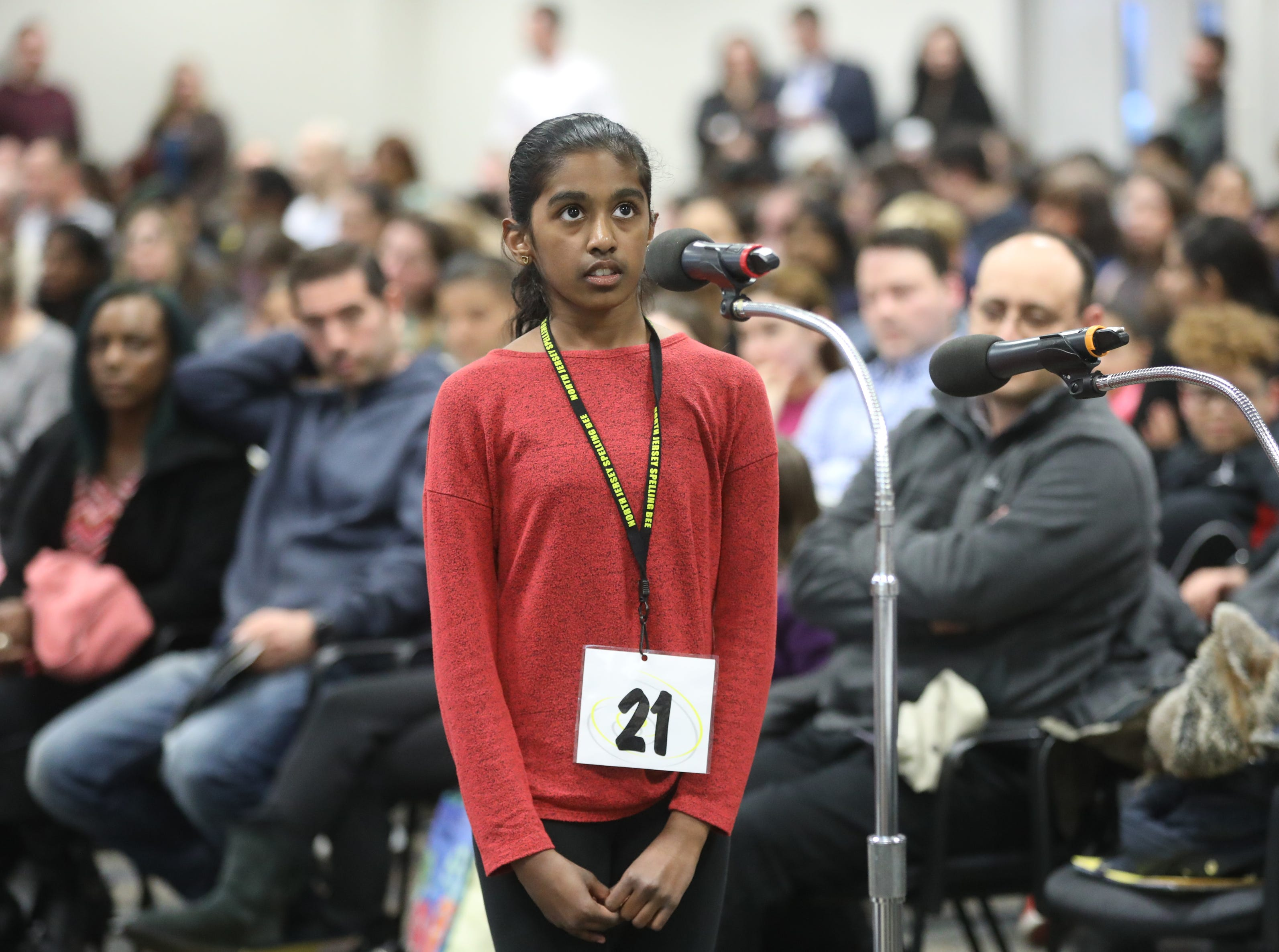 Riya Rajesh, of Upper Saddle River, competes in the first round of the 2019 North Jersey Spelling Bee, in Paramus. Thursday, March 14, 2019