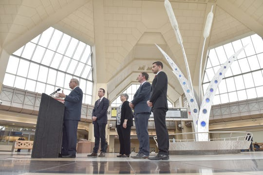 U.S. Senator Bob Menendez talks about how the Portal Bridge will have shorter hours to swing open for boat traffic on the Hackensack River, at the Secaucus Train Junction on Friday March 15, 2019. The Portal Bridge has been stuck open in the past, which disrupts rail commuters on the Northeast Corridor.