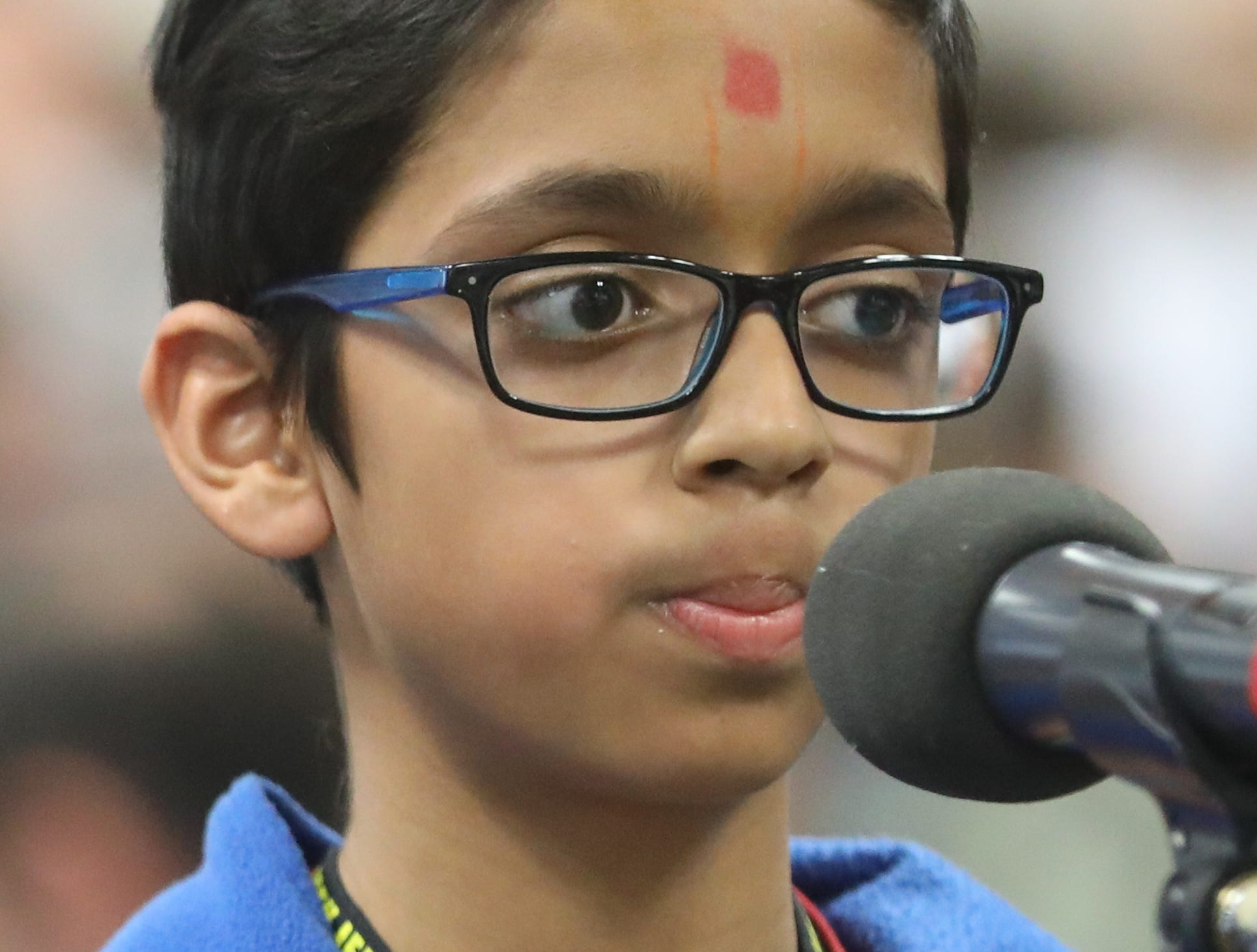 Kirtan Mangrolia, of Wallington, competes in the first round of the 2019 North Jersey Spelling Bee, in Paramus. Thursday, March 14, 2019