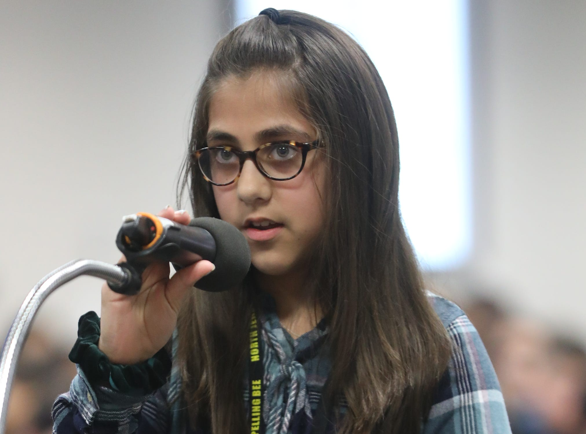 Layla Choudhri, of Alpine, competes in the first round of the 2019 North Jersey Spelling Bee, in Paramus. Thursday, March 14, 2019