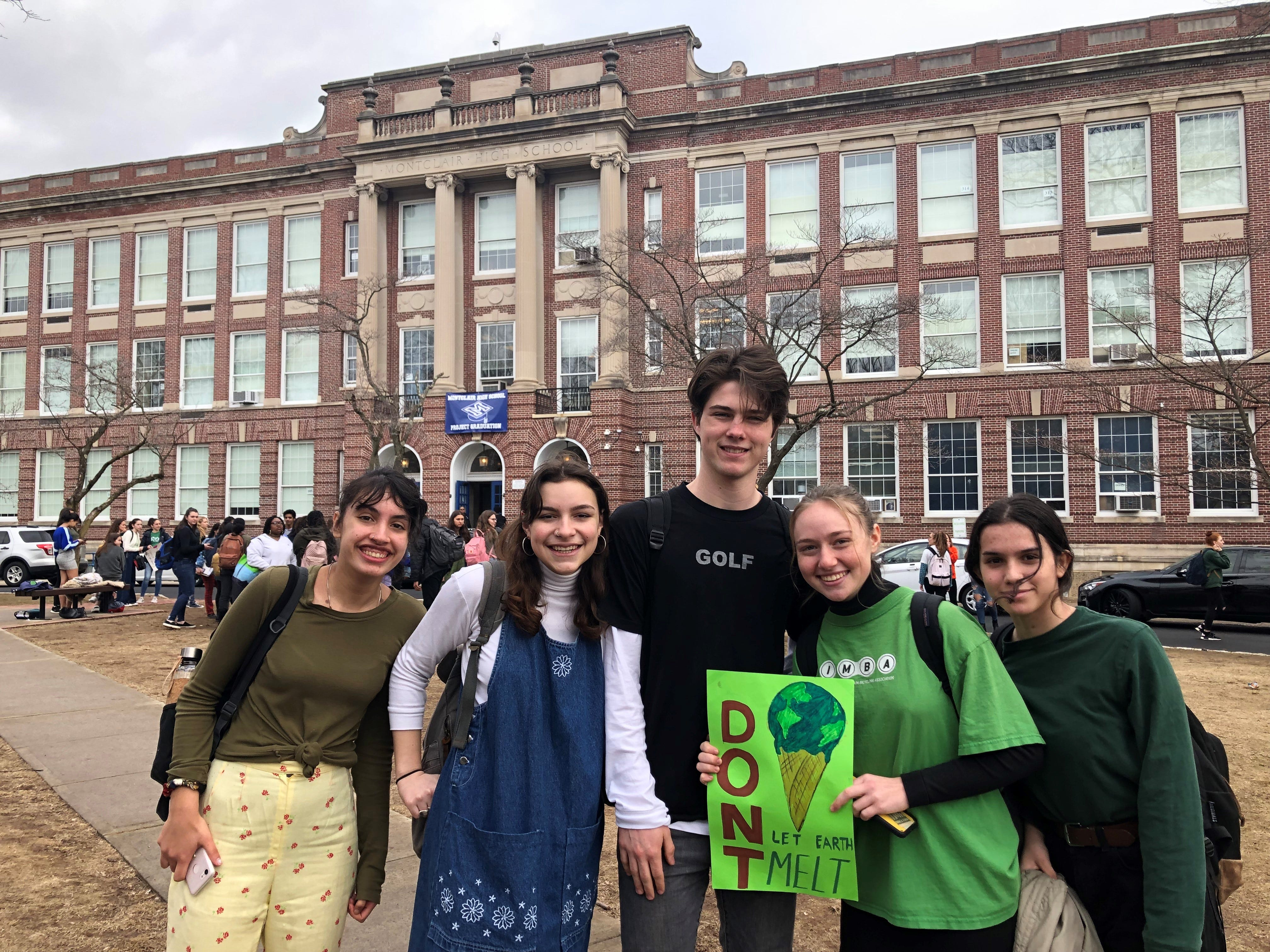 Students at Montclair High School participating in the worldwide Climate Strike on March 15, 2019.