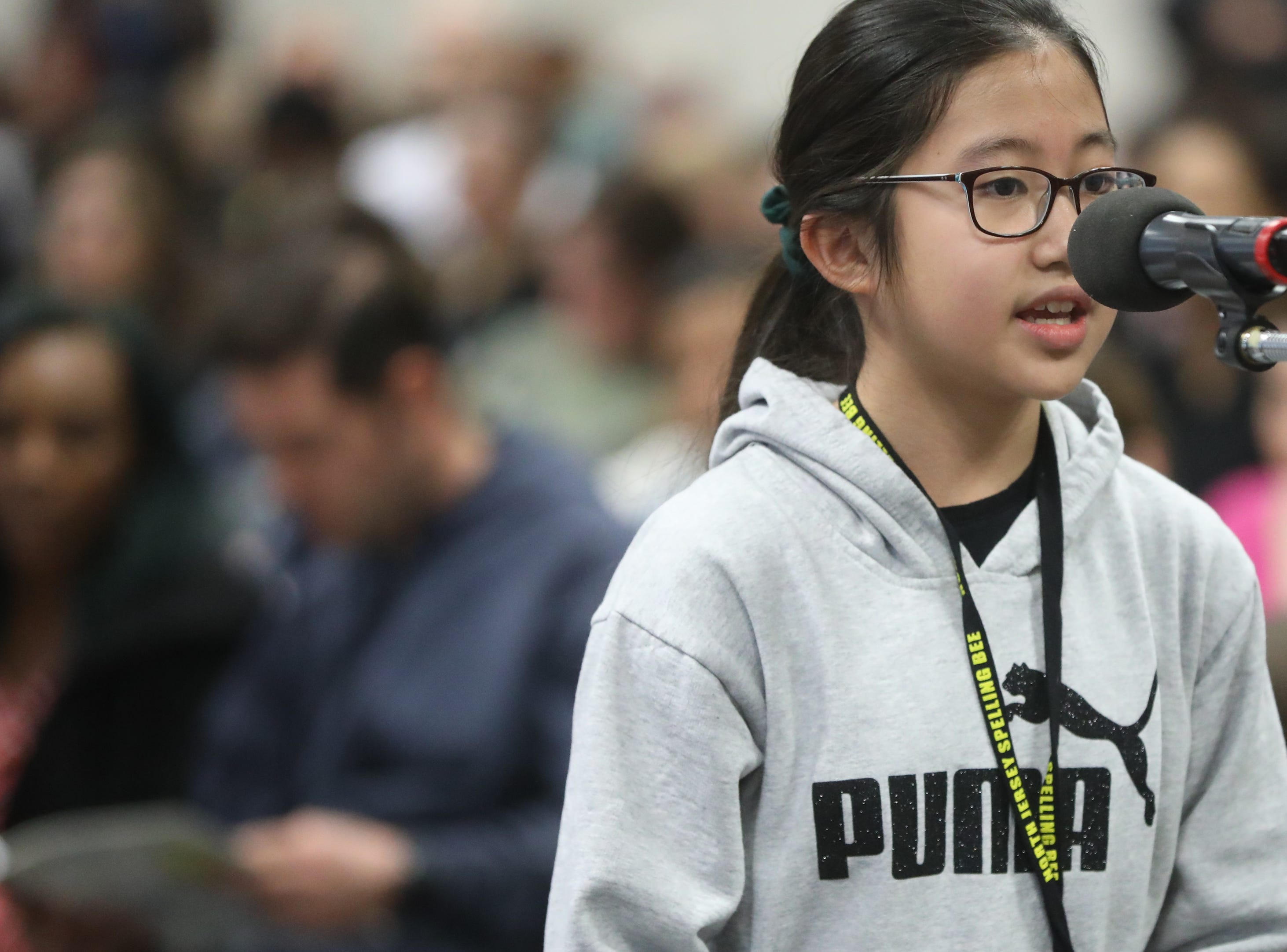 Leah Kwon, of Cresskill, competes in the first round of the 2019 North Jersey Spelling Bee, in Paramus. Thursday, March 14, 2019