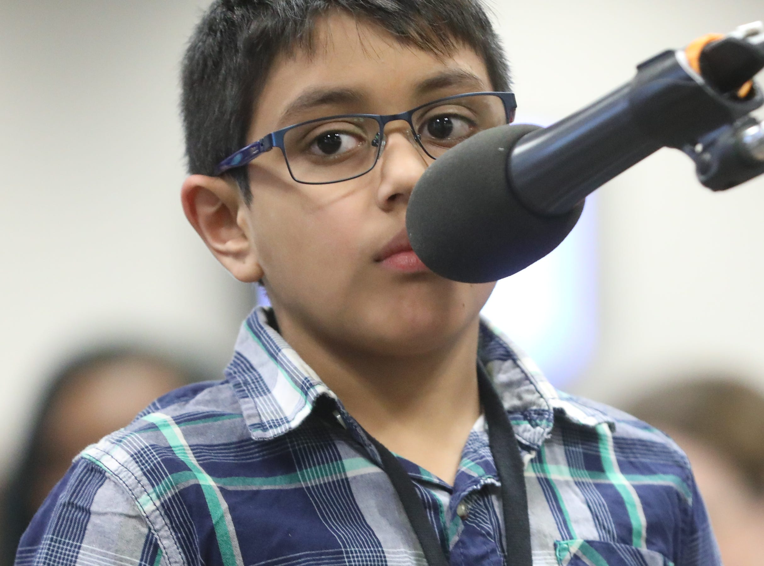 Srivarenya Vempati, of New Milford, competes in the first round of the 2019 North Jersey Spelling Bee, in Paramus. Thursday, March 14, 2019