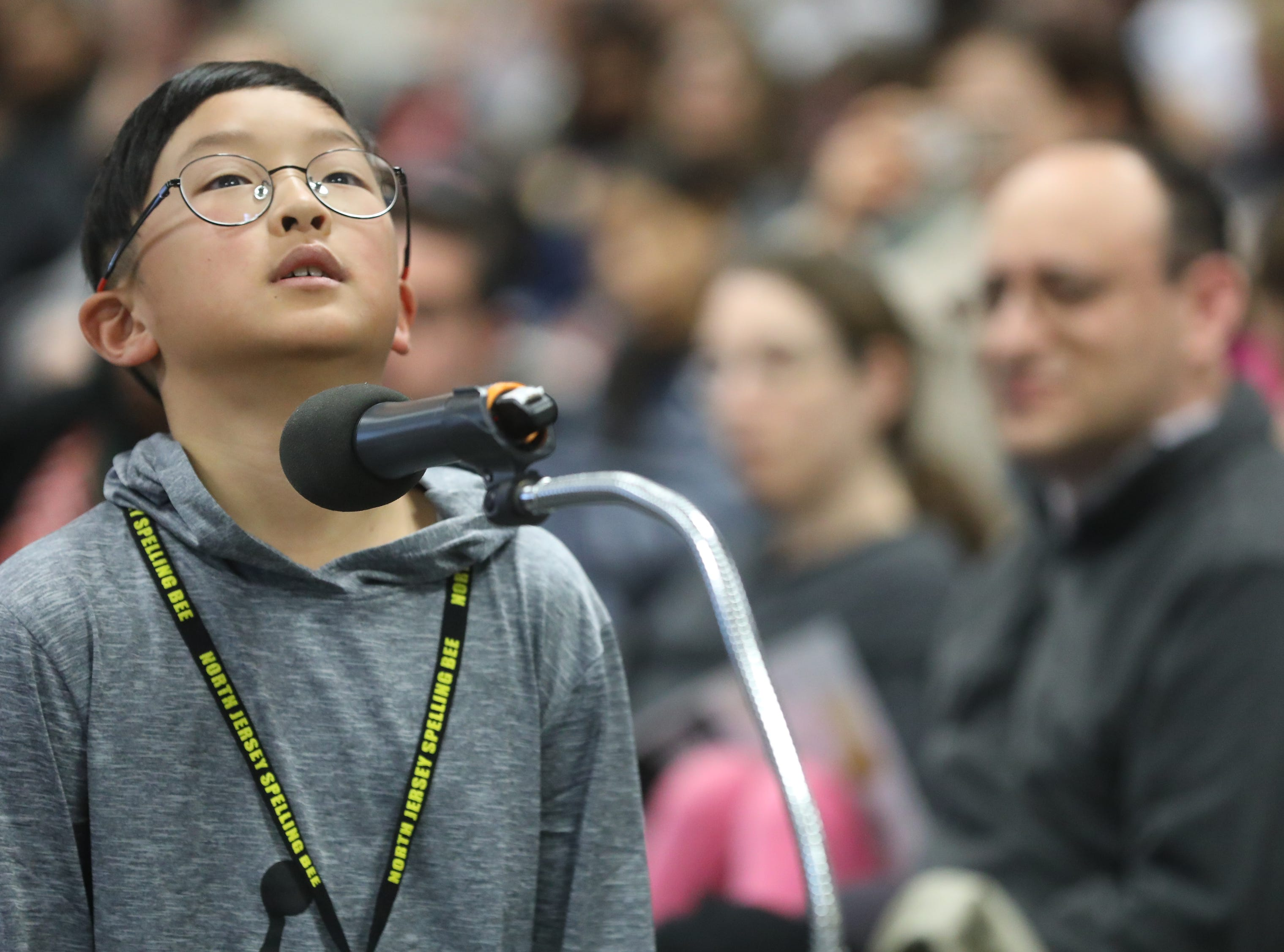 Jay Ahn, of Ridgewood, competes in the first round of the 2019 North Jersey Spelling Bee, in Paramus. Thursday, March 14, 2019