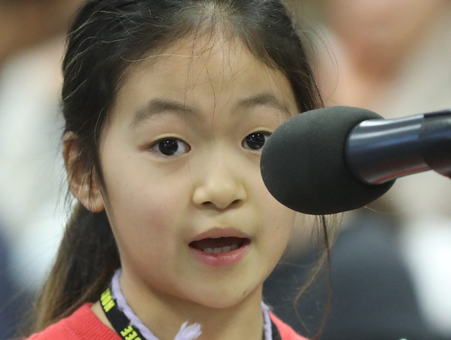Elizabeth Song, of Haworth, competes in the first round of the 2019 North Jersey Spelling Bee, in Paramus. Thursday, March 14, 2019