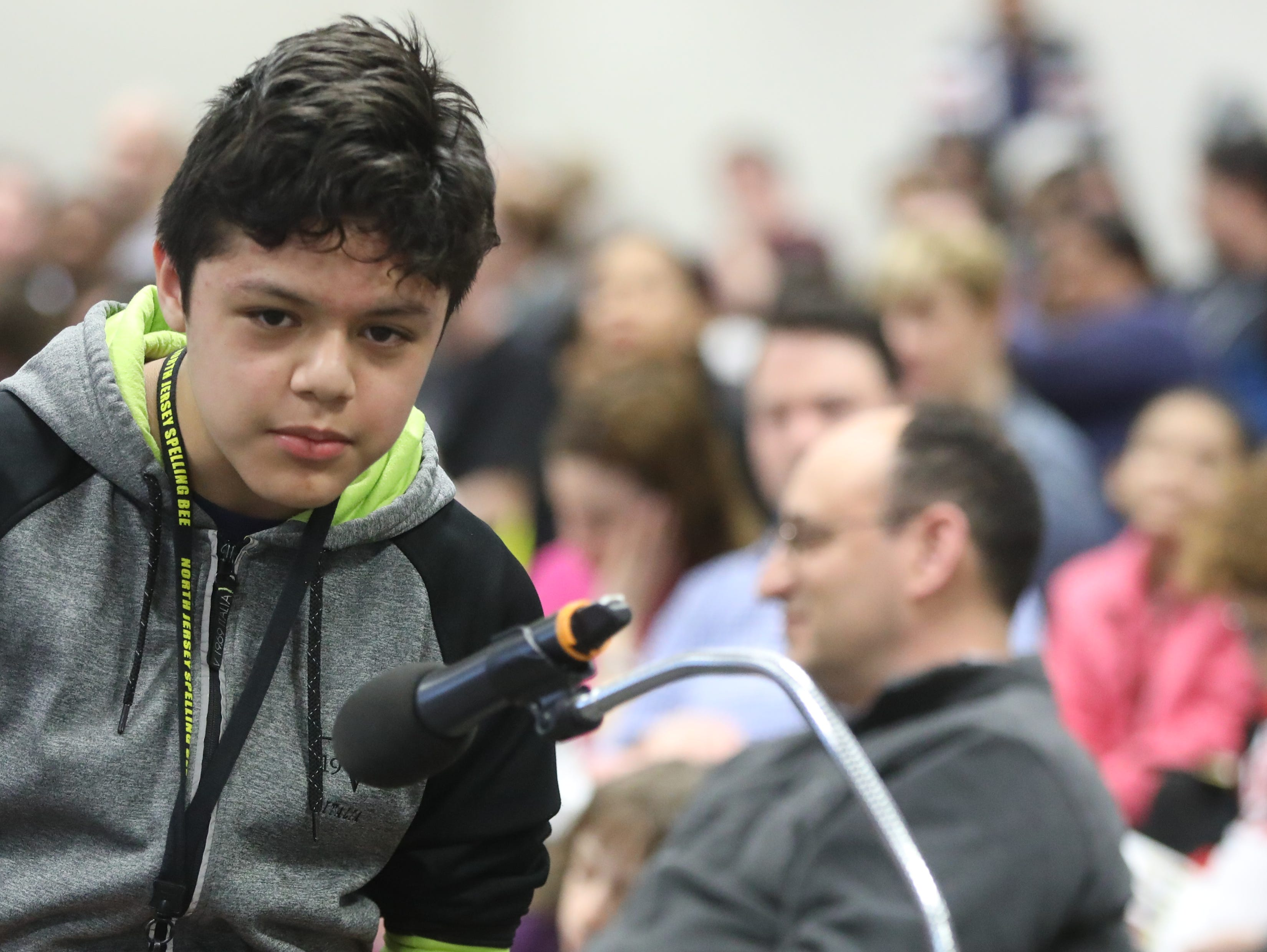 Jason Murillo, of Fairview, competes in the first round of the 2019 North Jersey Spelling Bee, in Paramus. Thursday, March 14, 2019