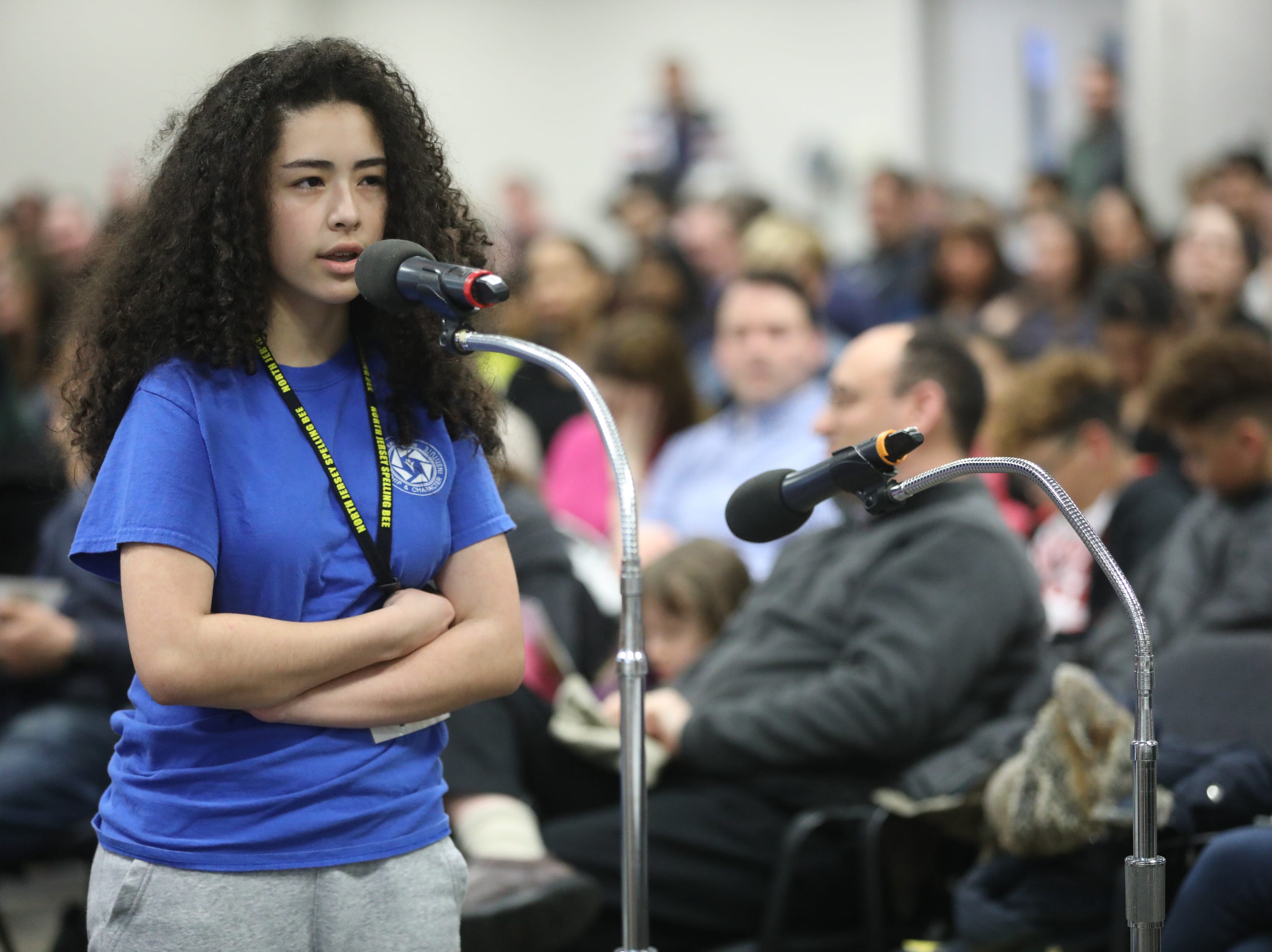 Bethany Lopez, of Passaic, competes in the first round of the 2019 North Jersey Spelling Bee, in Paramus. Thursday, March 14, 2019