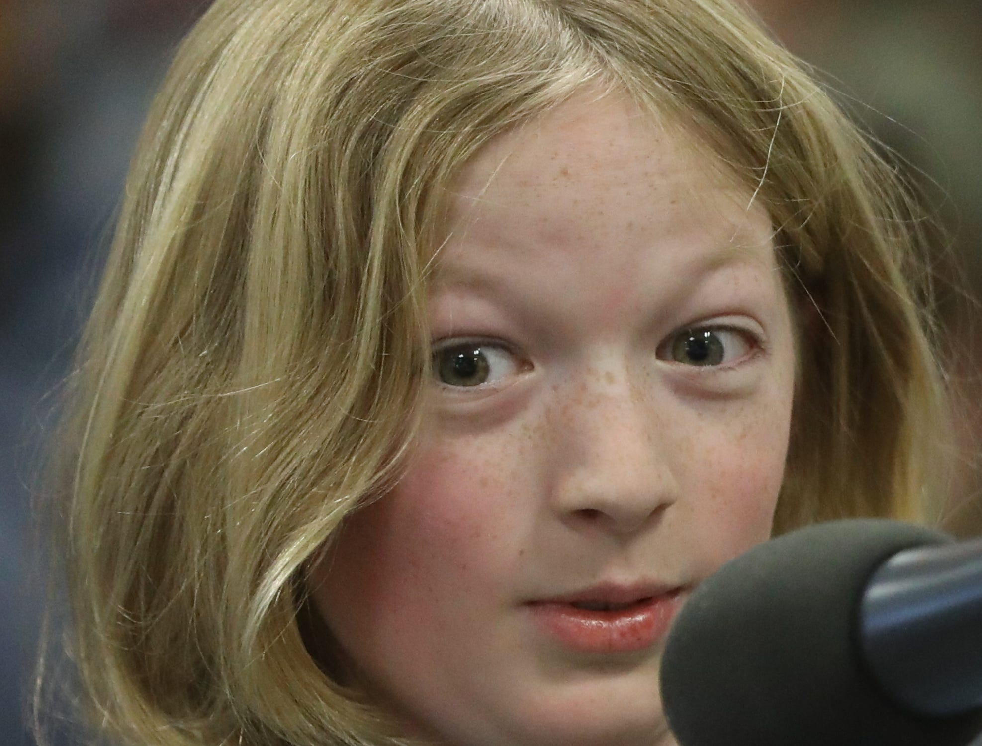Matthew Lamerton, of Ridgewood, competes in the first round of the 2019 North Jersey Spelling Bee, in Paramus. Thursday, March 14, 2019