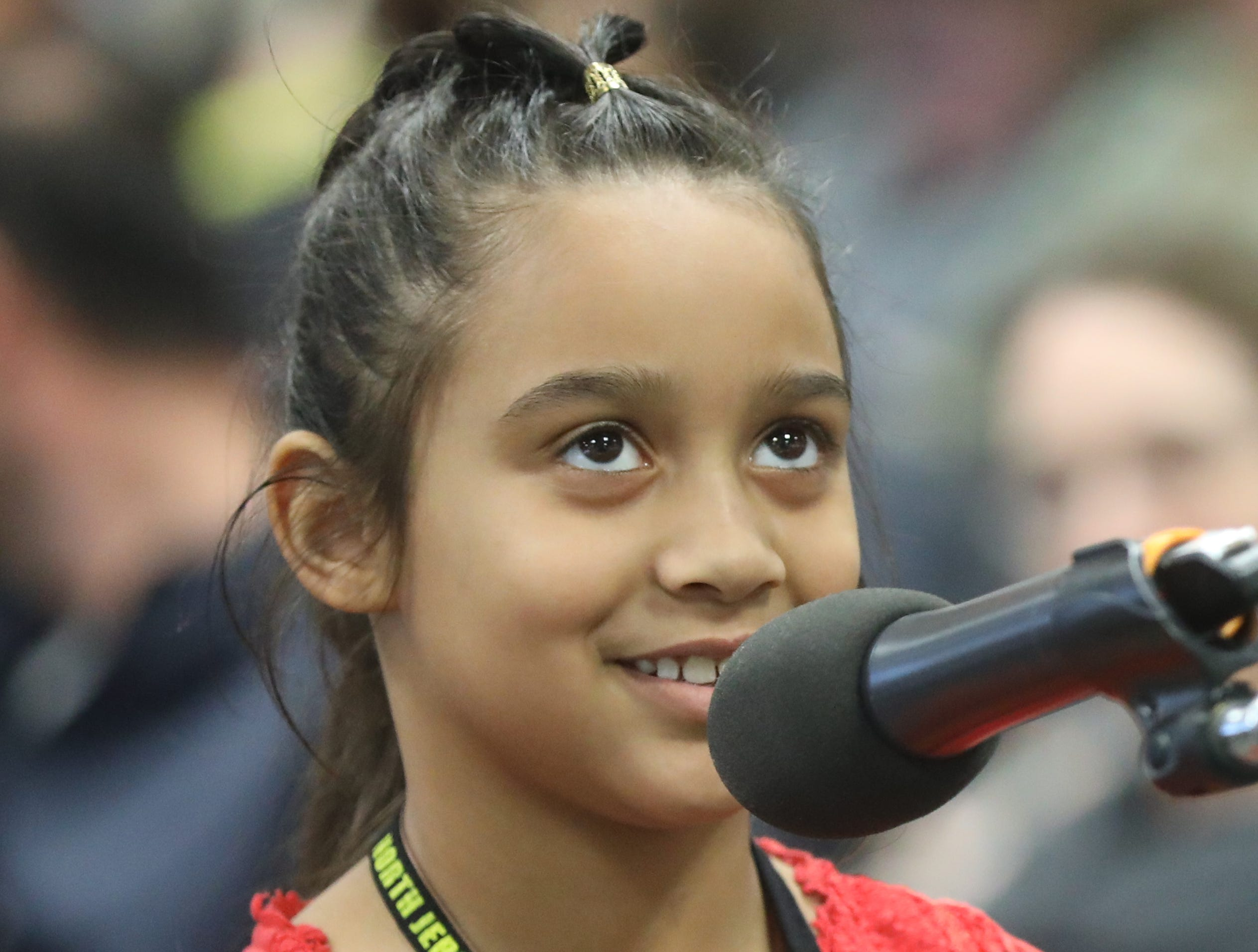Kristela Saraci, of Teaneck, competes in the first round of the 2019 North Jersey Spelling Bee, in Paramus. Thursday, March 14, 2019
