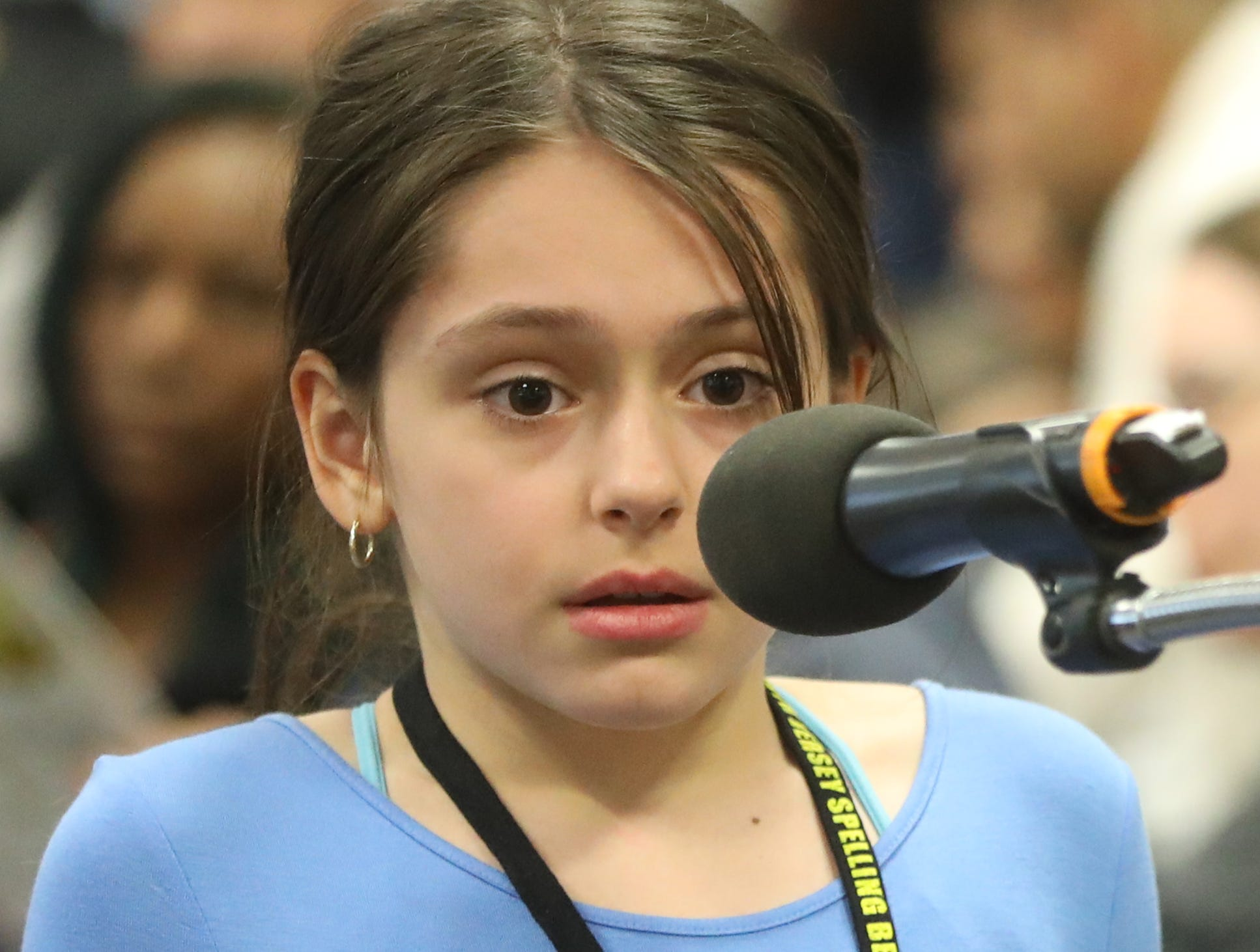 Nicolette Sigalos, of Wyckoff, competes in the first round of the 2019 North Jersey Spelling Bee, in Paramus. Thursday, March 14, 2019