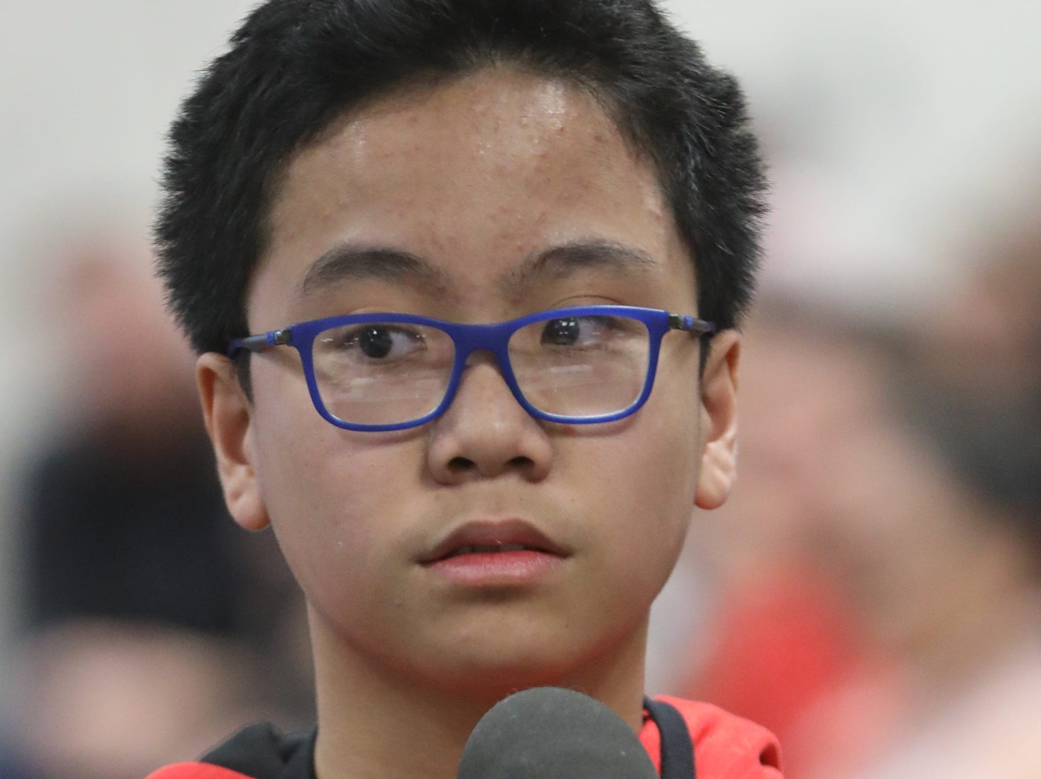 Alessandro Gallardo, of Fort Lee, competes in the first round of the 2019 North Jersey Spelling Bee, in Paramus. Thursday, March 14, 2019