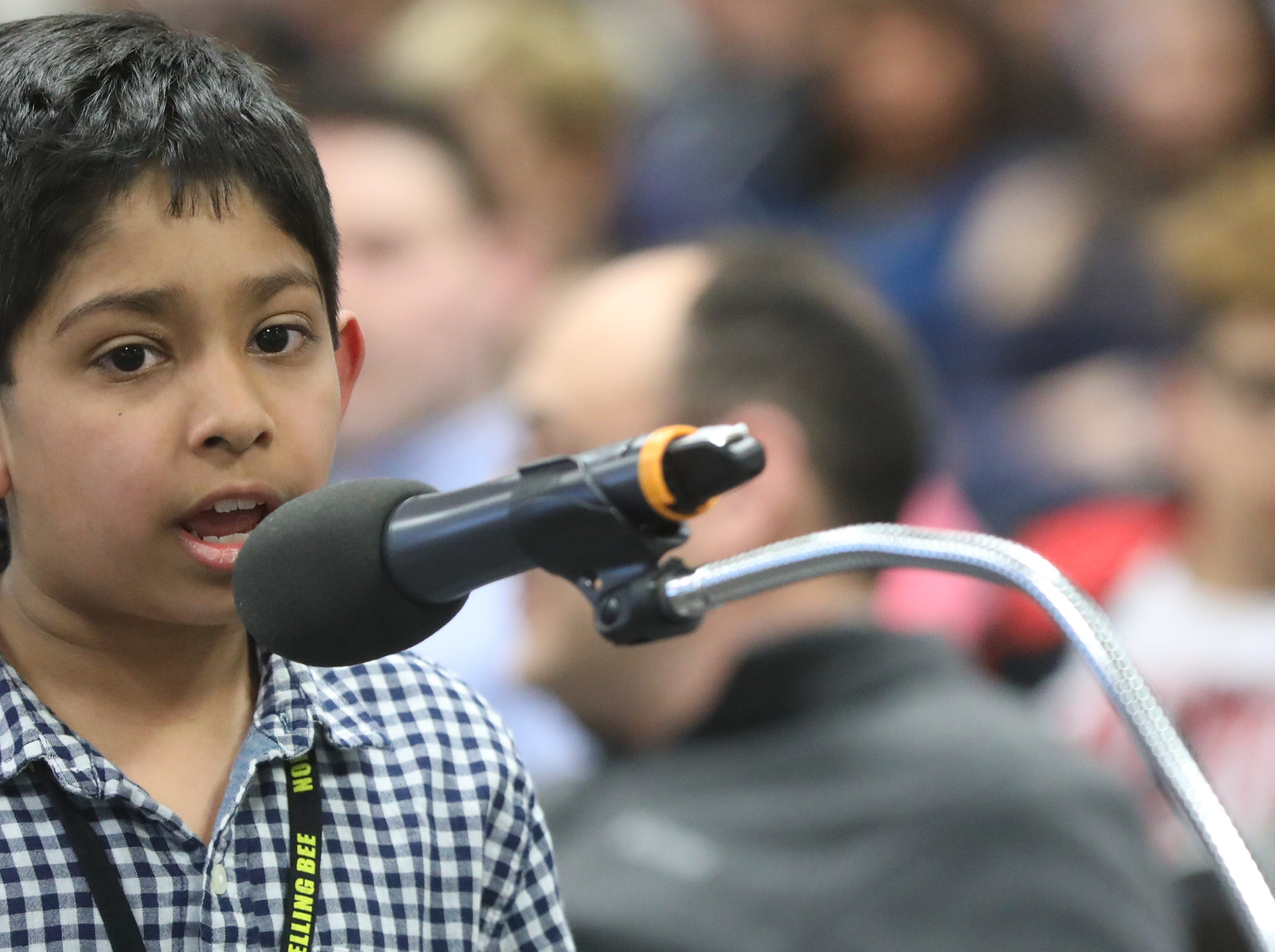 Mohammed Zariwala, of Ridgewood, competes in the first round of the 2019 North Jersey Spelling Bee, in Paramus. Thursday, March 14, 2019