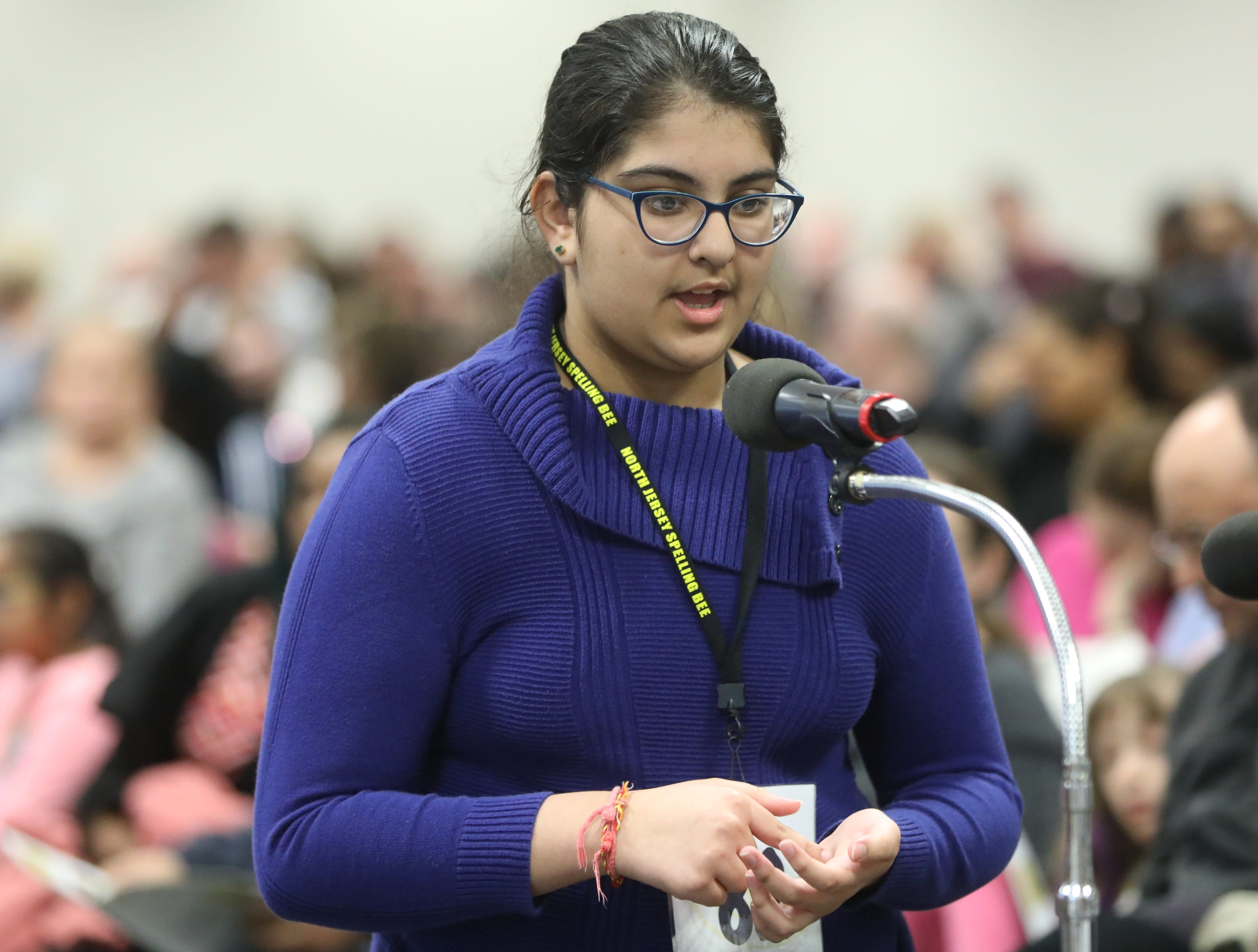 Tannishtha Sethi, of Rutherford, competes in the first round of the 2019 North Jersey Spelling Bee, in Paramus. Thursday, March 14, 2019