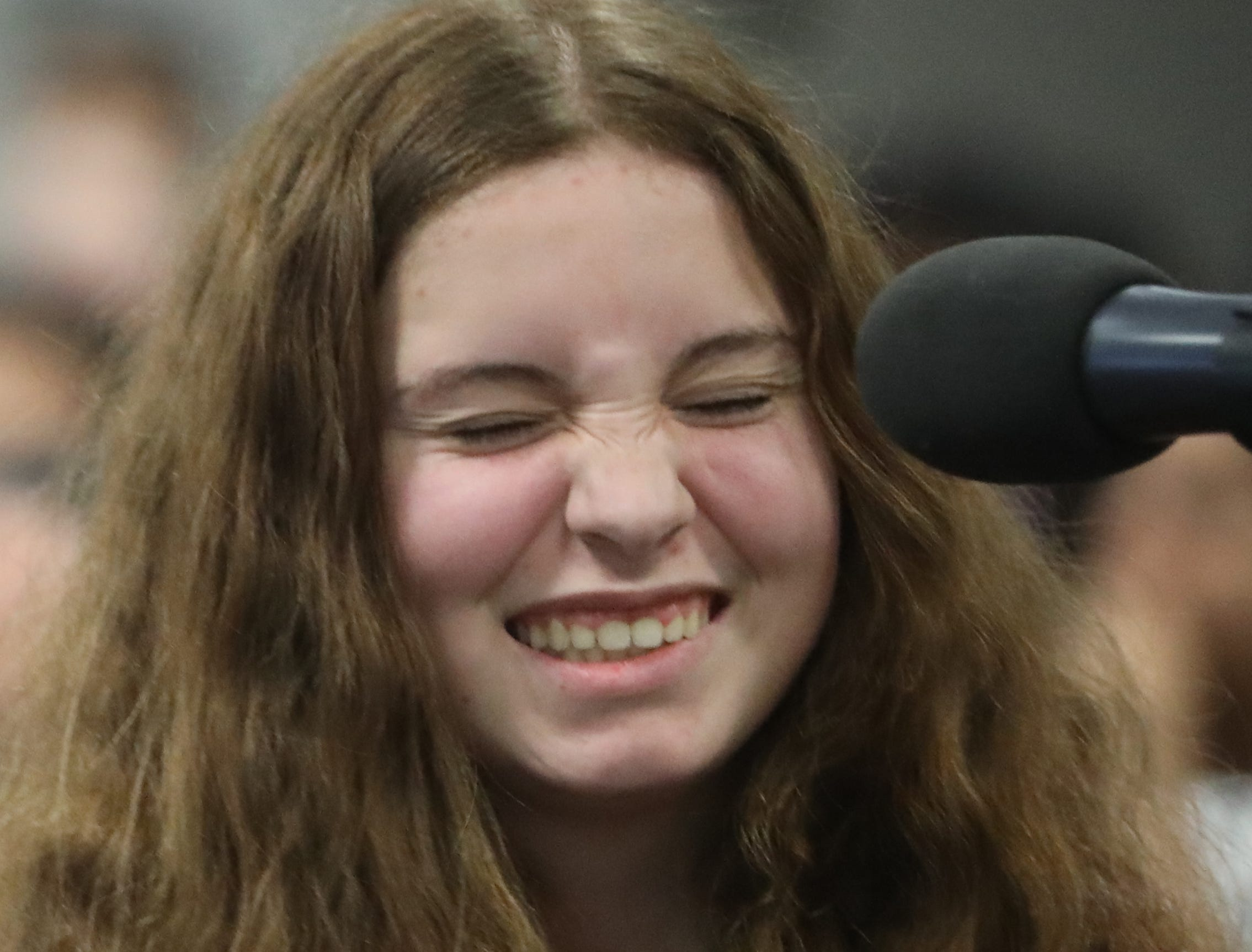 Anna Harms, of Wyckoff, is thrilled to spell her third round word correct, during the 2019 North Jersey Spelling Bee, in Paramus. Thursday, March 14, 2019