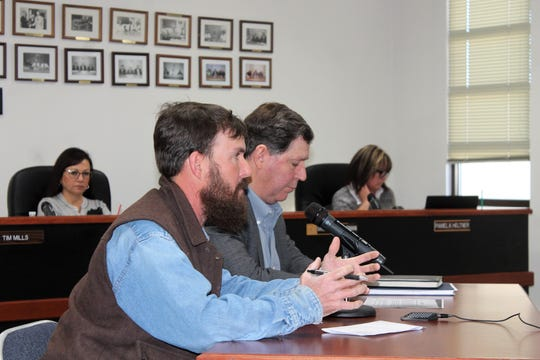 Otero County resident Colt Howland and Otero County Chamber of Commerce Executive Director G.B. Oliver address the Otero County Commission at their regular meeting March 14.