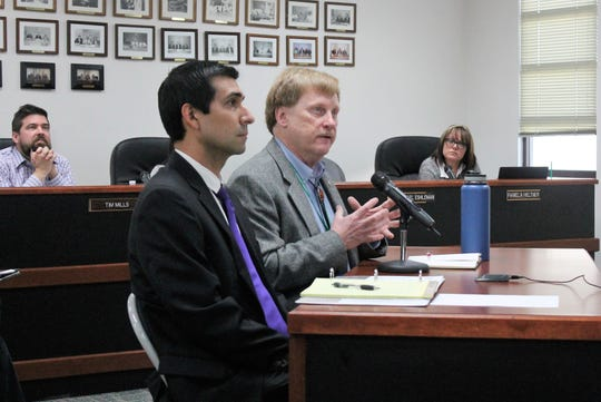 New Mexico Emvironment Department Lead Scientist Dennis McQuillan, right, and NMED Assistant Legal Counsel Christopher Atencio at the regular Otero County Commission meeting March 14.
