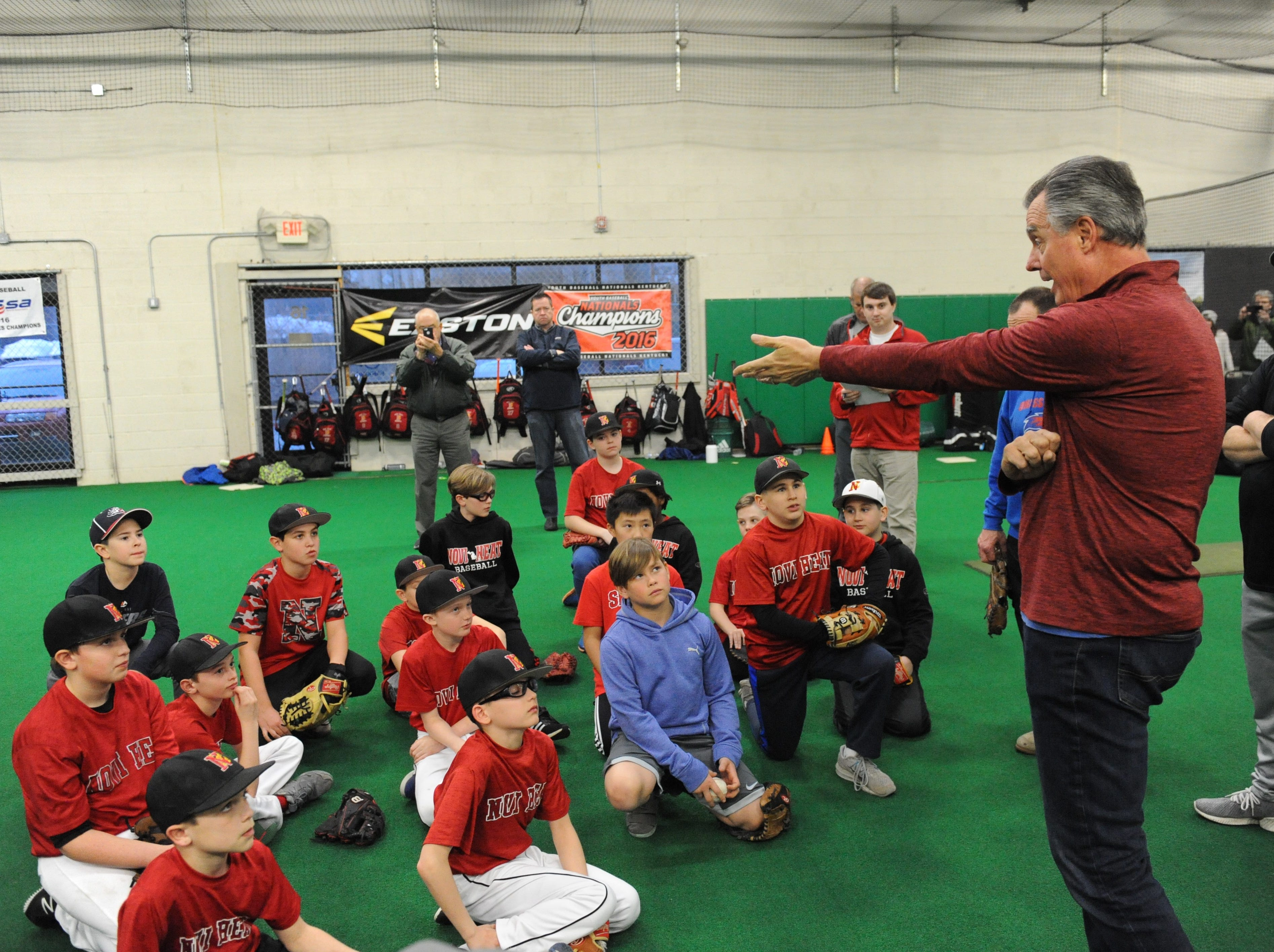 Frank Tanana takes question from the young ball players.