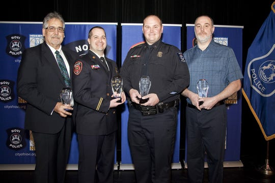 Richard Antuna, volunteer of the year; Captain Mark Theisen, firefighter of the year; Officer Mike Daisley, police officer of the year; and Steve Tallman, civilian employee of the year, were honored at the Novi Police and Fire Awards on March 7, 2019.