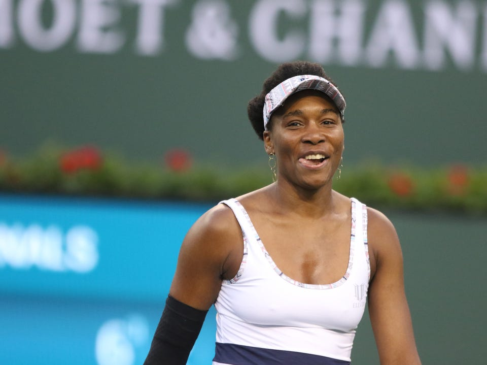 Venus Williams reacts during her match against Angelique Kerber during the BNP Paribas Open in Indian Wells on Thursday, March 14, 2019. Kerber won.
