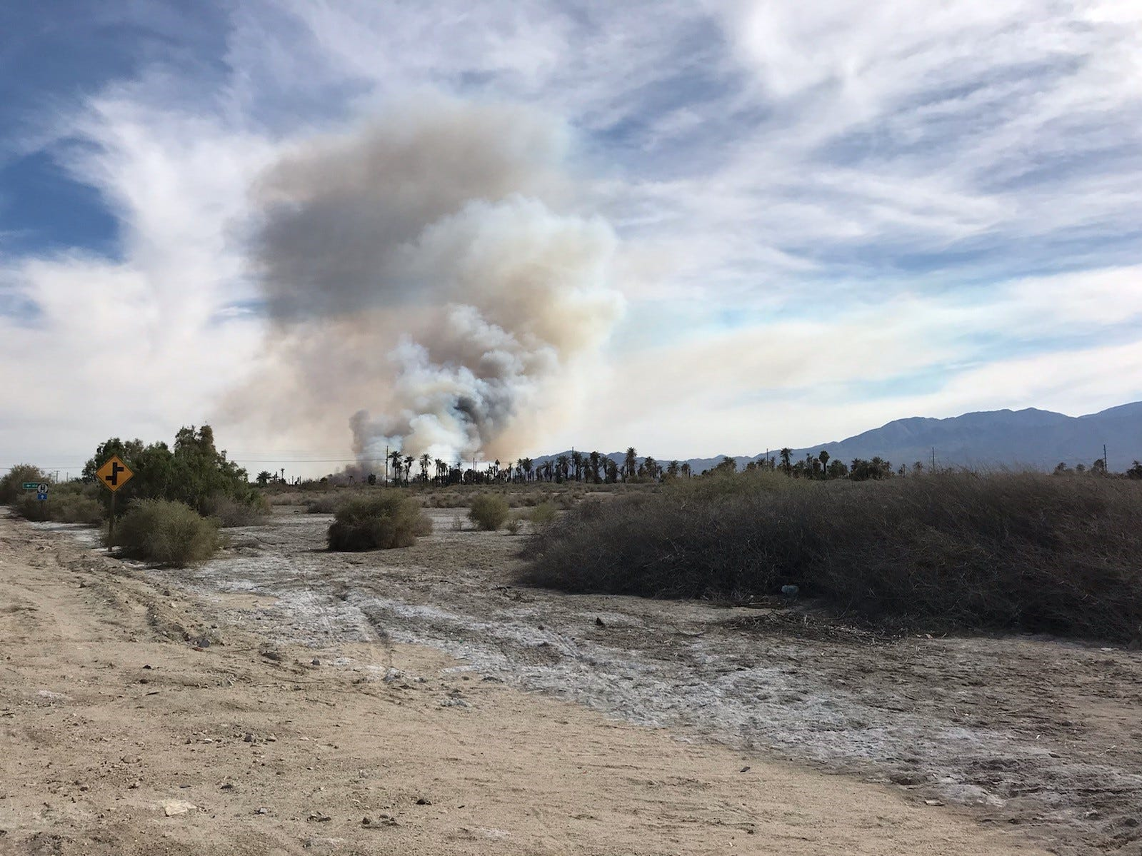 A fast-moving brush fire broke out Friday afternoon at Lincoln Street and Avenue 68 in Mecca, officials said.