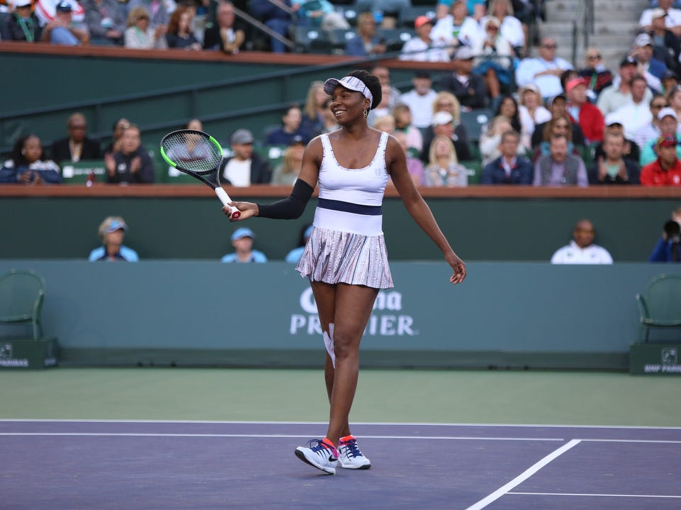 Venus Williams reacts to missing a shot against Angelique Kerber during the BNP Paribas Open in Indian Wells on Thursday, March 14, 2019. Kerber won.