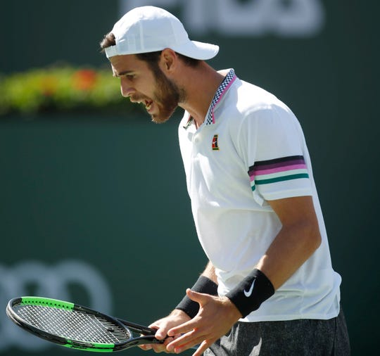 Karen Khachanov during his game against Rafael Nadal during his game against on Stadium One at the 2019 BNP Paribas Open at Indian Wells Tennis Garden on March 15, 2019. Nadal won the quarterfinal match.