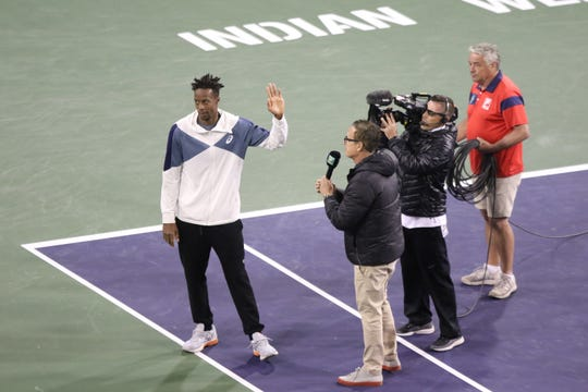 Gael Monfils announces his withdrawal from his match against Dominic Thiem due to injury at the BNP Paribas Open in Indian Wells on Thursday, March 14, 2019.