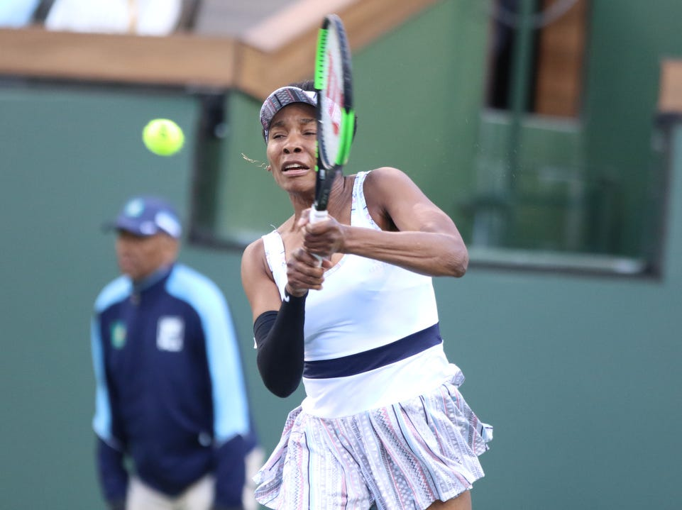 Venus Williams returns to Angelique Kerber during the BNP Paribas Open in Indian Wells on Thursday, March 14, 2019. Kerber won.