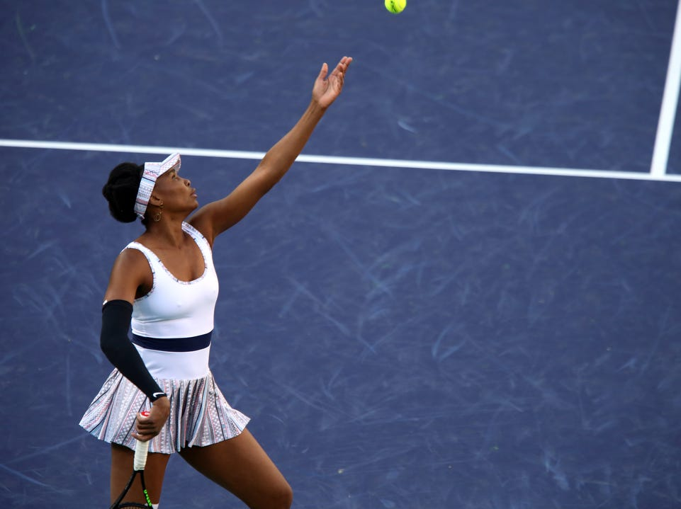 Venus Williams serves during her match against Angelique Kerber during the BNP Paribas Open in Indian Wells on Thursday, March 14, 2019. Kerber won.