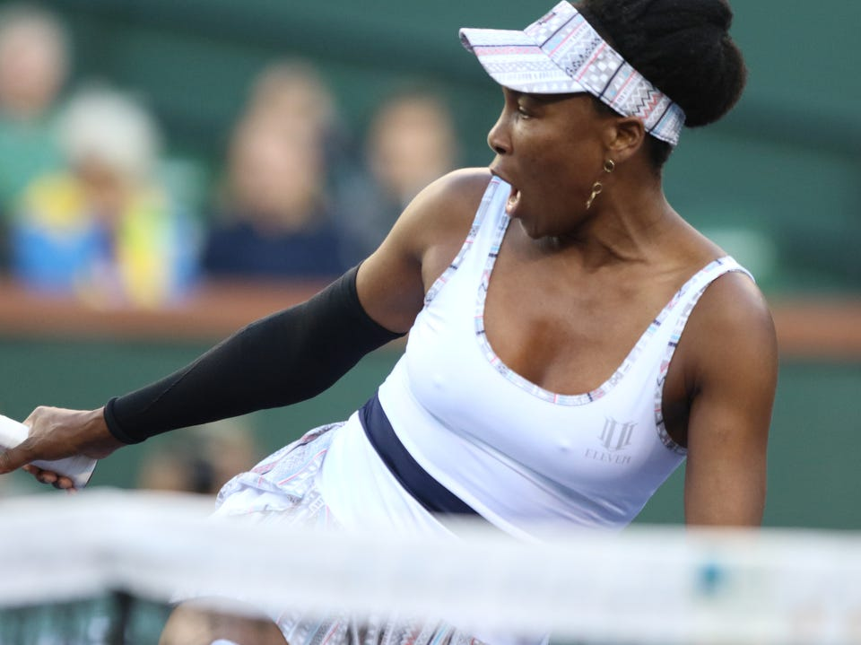 Venus Williams reacts to a missed shot against Angelique Kerber during the BNP Paribas Open in Indian Wells on Thursday, March 14, 2019. Kerber won.