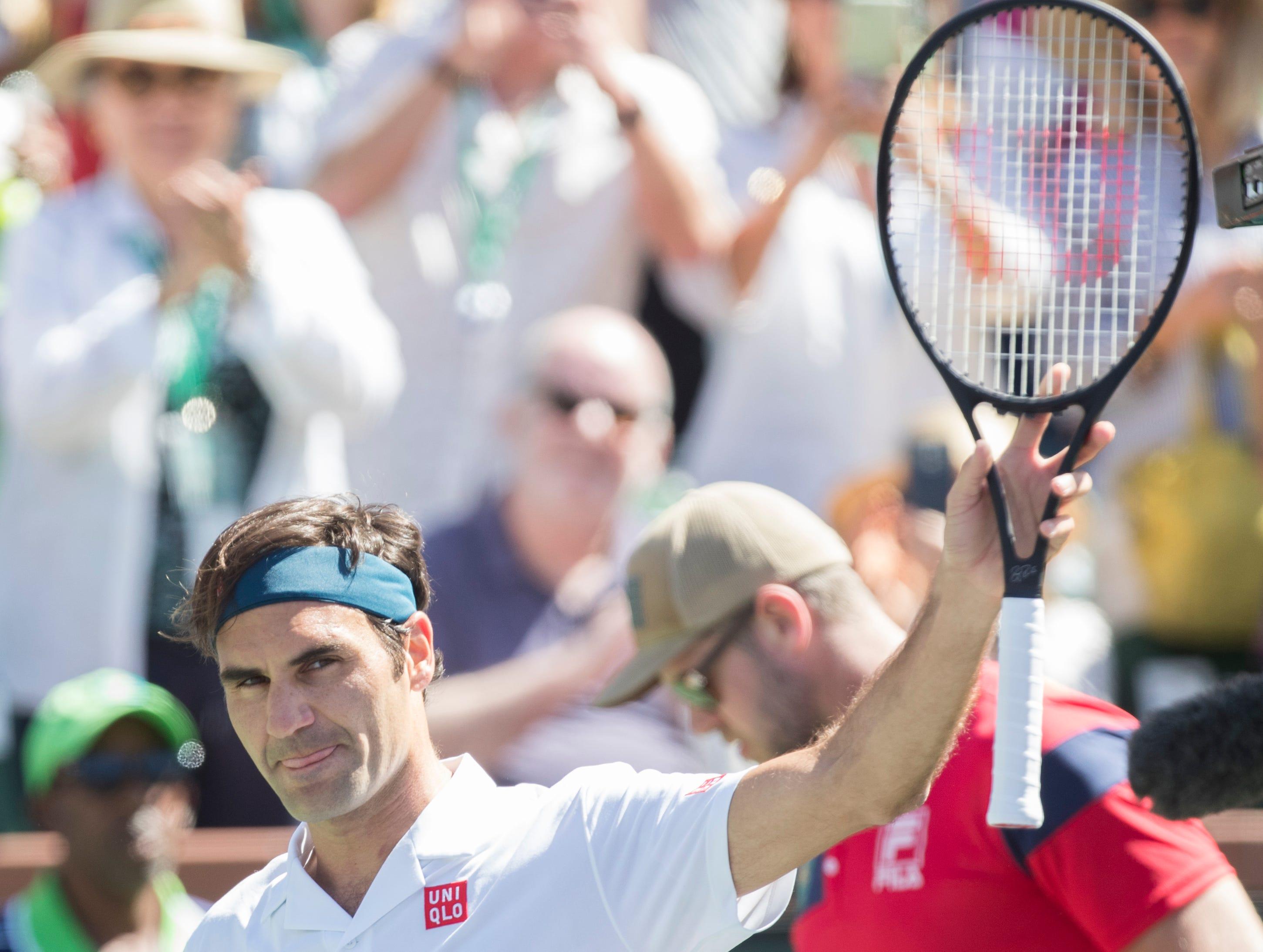 Roger Federer during his quarterfinal match against Hubert Hurkacz on Stadium One at the 2019 BNP Paribas Open at Indian Wells Tennis Garden on March 15, 2019. Federer won 6-4, 6-4.