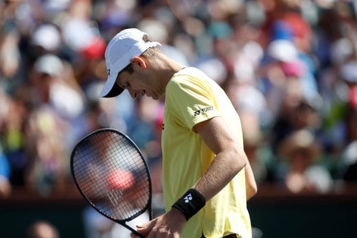 Roger Federer during his quarterfinal match against Hubert Hurkacz on Stadium One at the 2019 BNP Paribas Open at Indian Wells Tennis Garden on March 15, 2019. Federer won 6-4, 6-4.