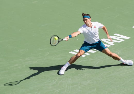 Roger Federer tracks down a serve during his quarterfinal match against Hubert Hurkacz on Stadium One at the 2019 BNP Paribas Open at Indian Wells Tennis Garden on March 15, 2019. Federer won 6-4, 6-4.