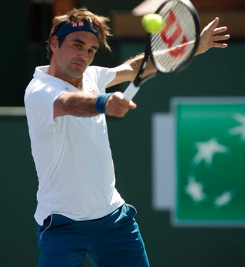 Roger Feder hits a backhand during his quarterfinal match against Hubert Hurkacz on Stadium One at the 2019 BNP Paribas Open at Indian Wells Tennis Garden on March 15, 2019. Federer won 6-4, 6-4.